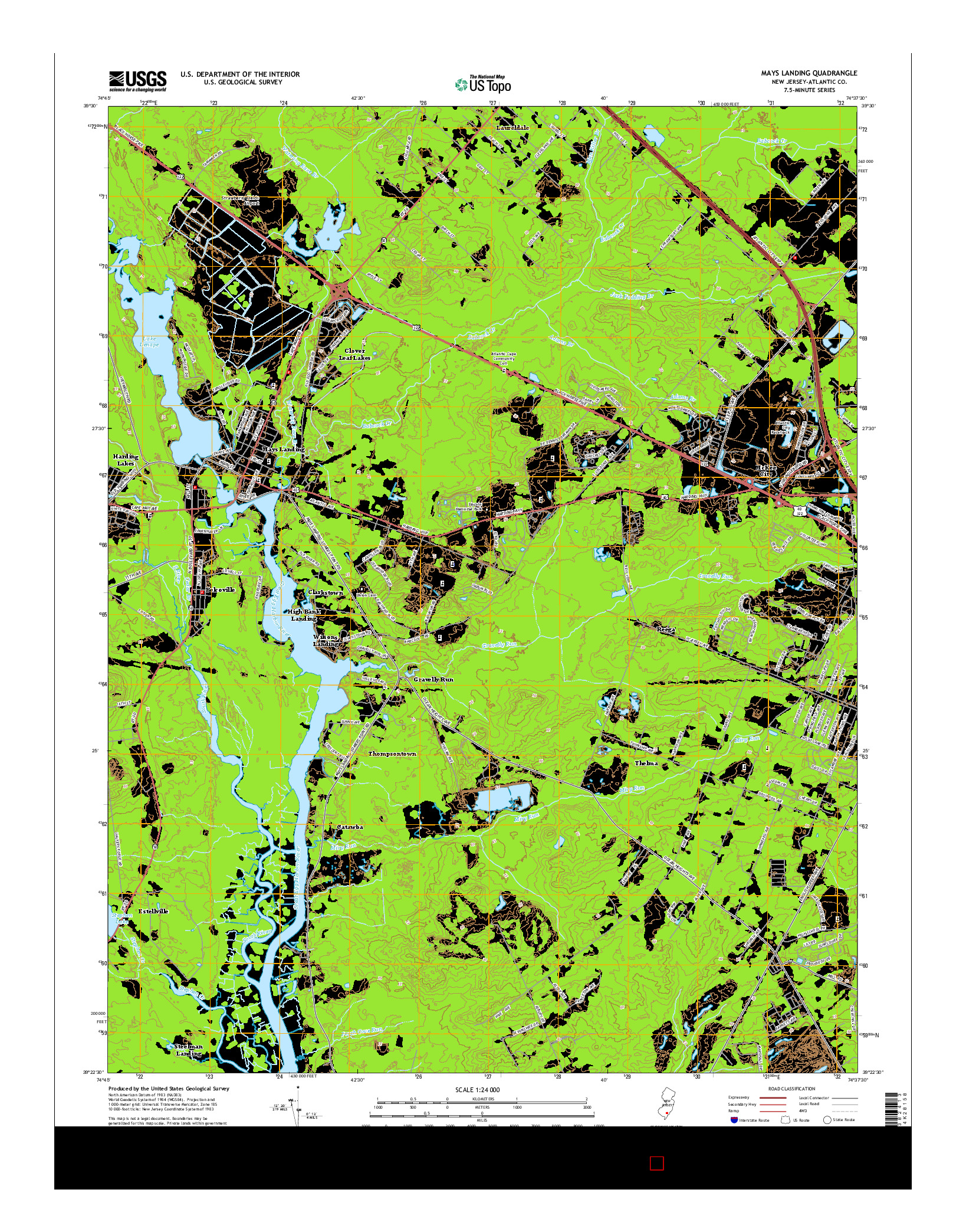 USGS US TOPO 7.5-MINUTE MAP FOR MAYS LANDING, NJ 2014