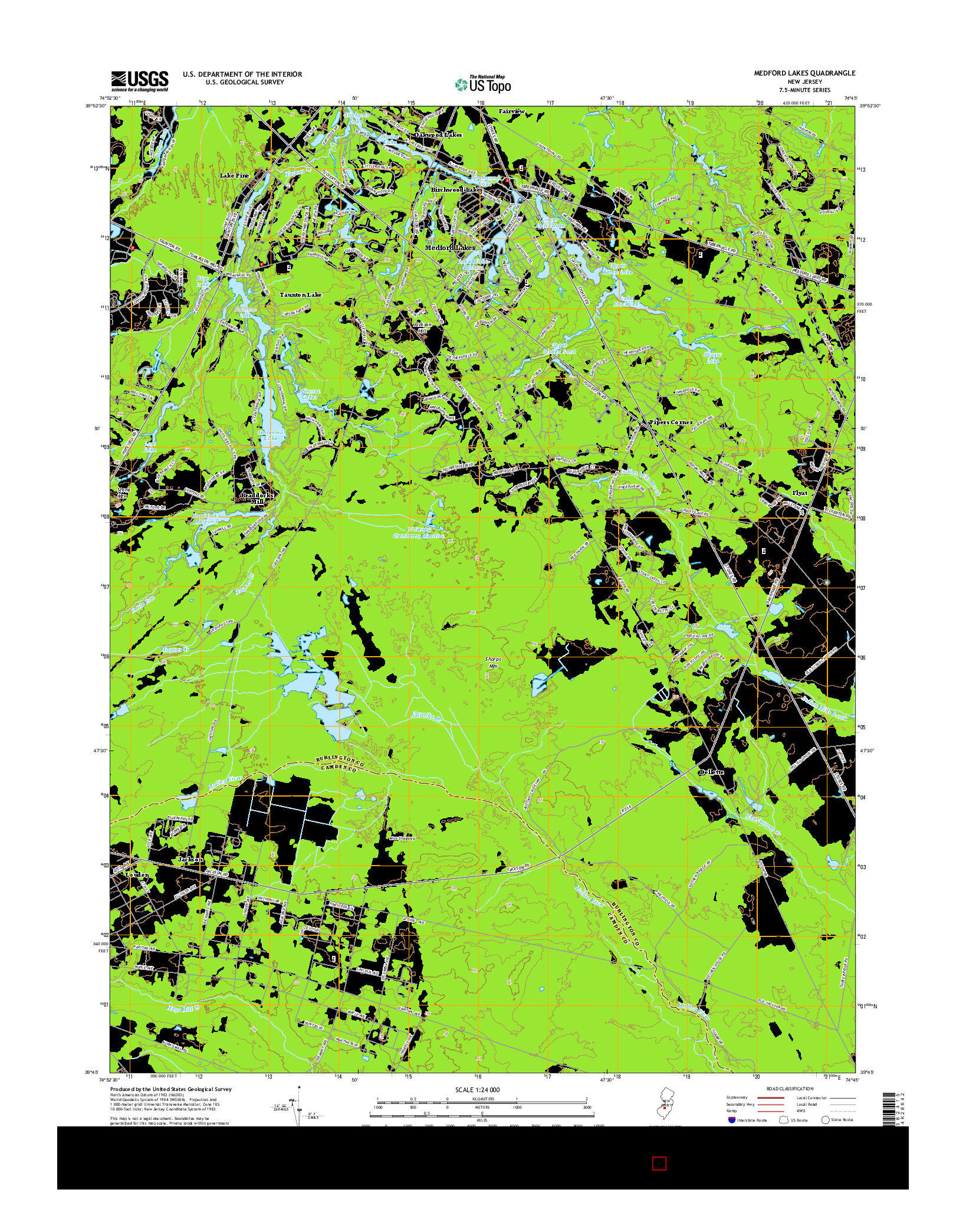 USGS US TOPO 7.5-MINUTE MAP FOR MEDFORD LAKES, NJ 2014