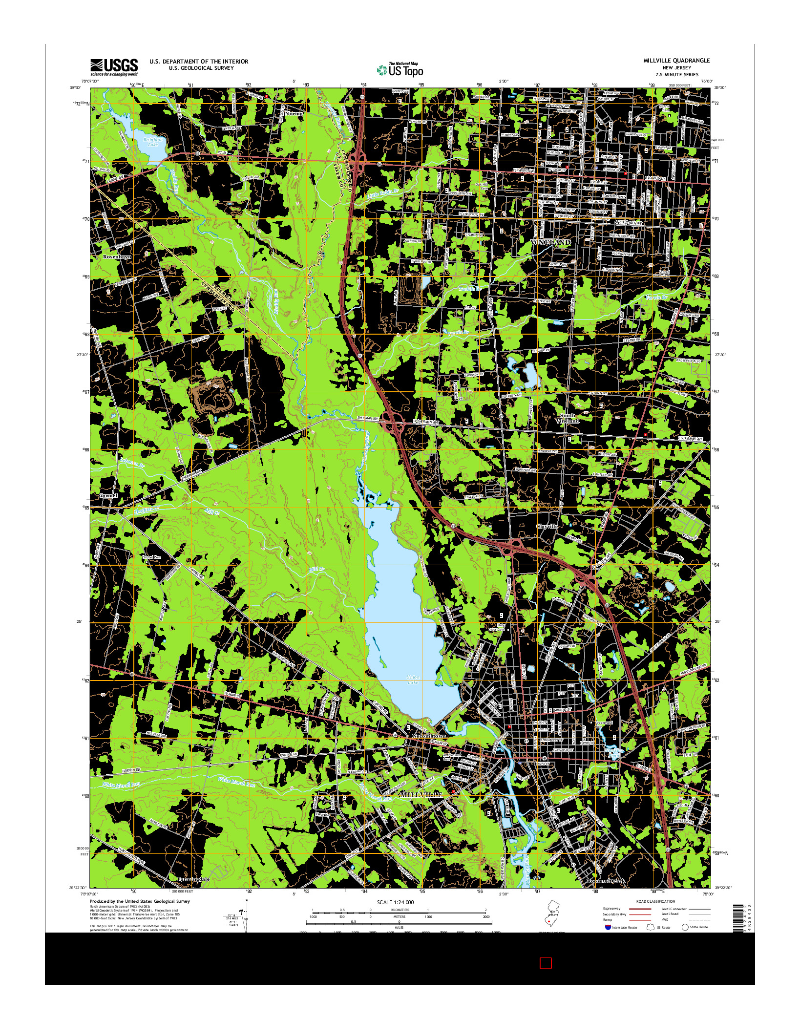USGS US TOPO 7.5-MINUTE MAP FOR MILLVILLE, NJ 2014