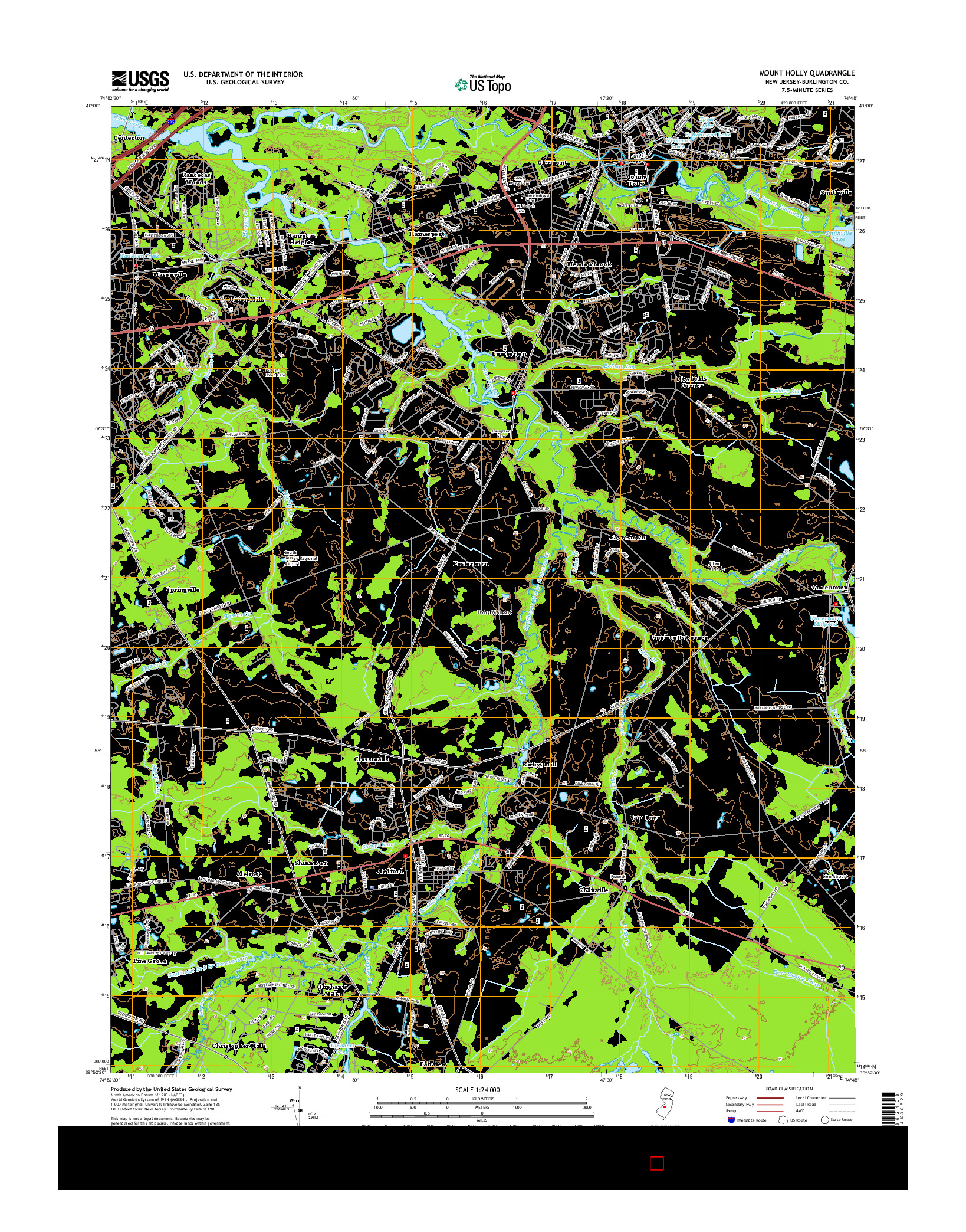 USGS US TOPO 7.5-MINUTE MAP FOR MOUNT HOLLY, NJ 2014