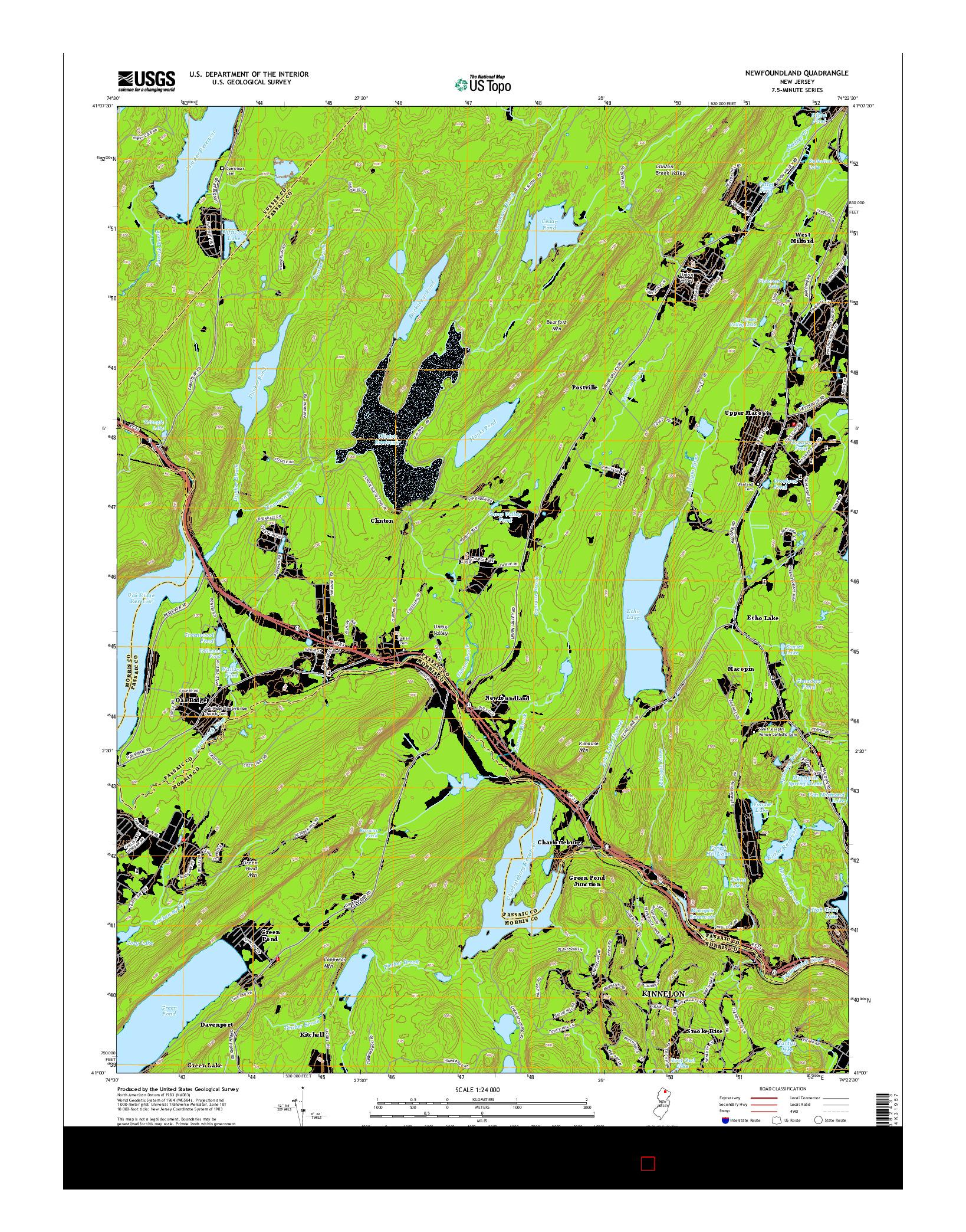 USGS US TOPO 7.5-MINUTE MAP FOR NEWFOUNDLAND, NJ 2014