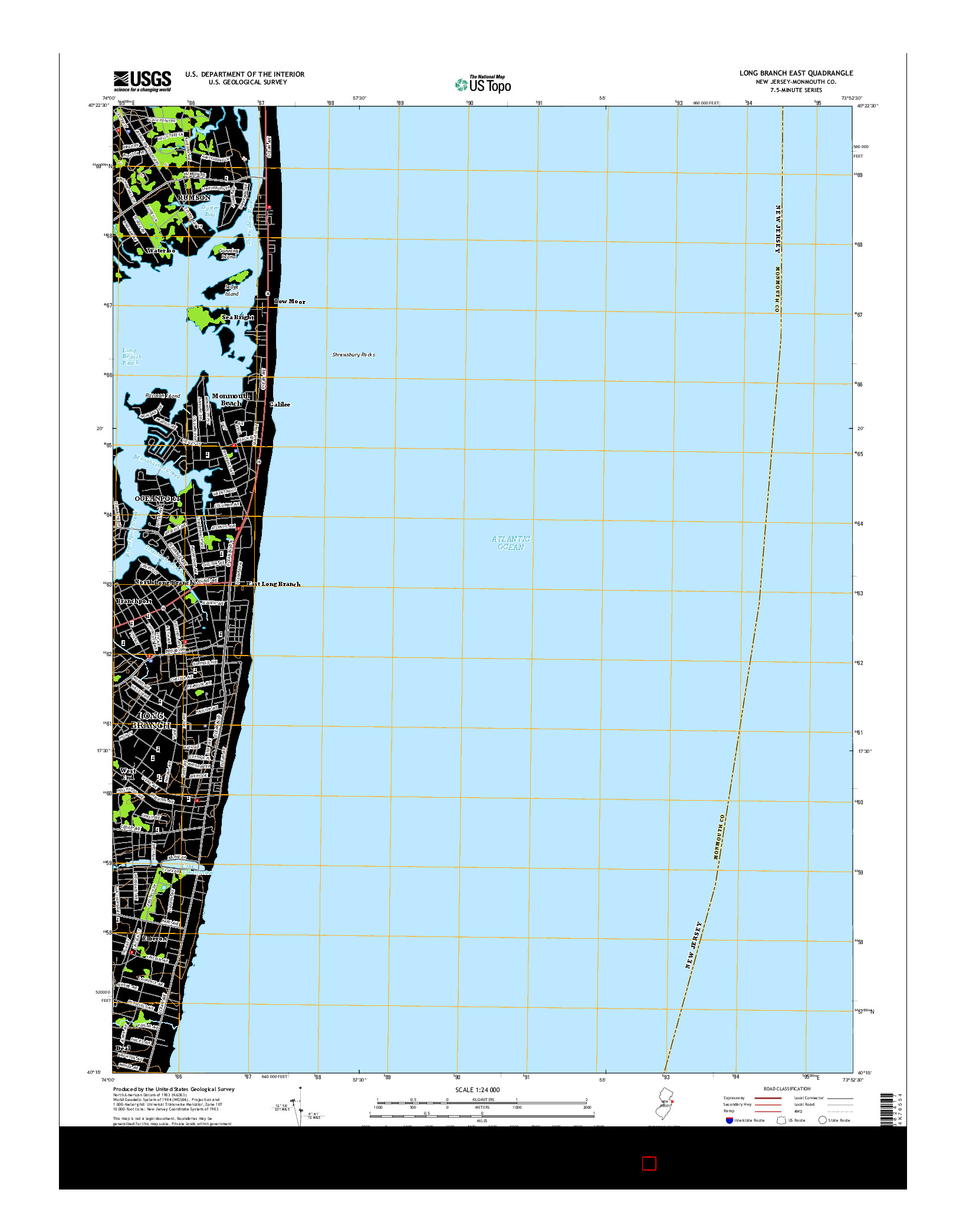 USGS US TOPO 7.5-MINUTE MAP FOR LONG BRANCH EAST, NJ 2014