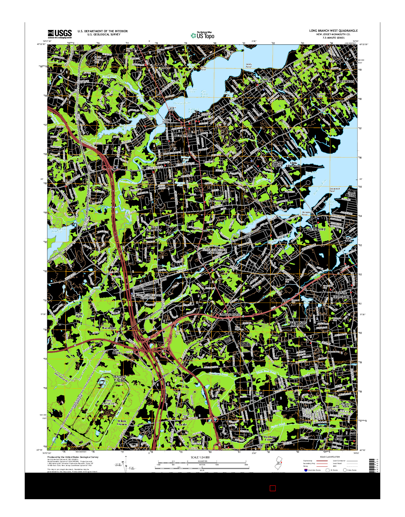 USGS US TOPO 7.5-MINUTE MAP FOR LONG BRANCH WEST, NJ 2014