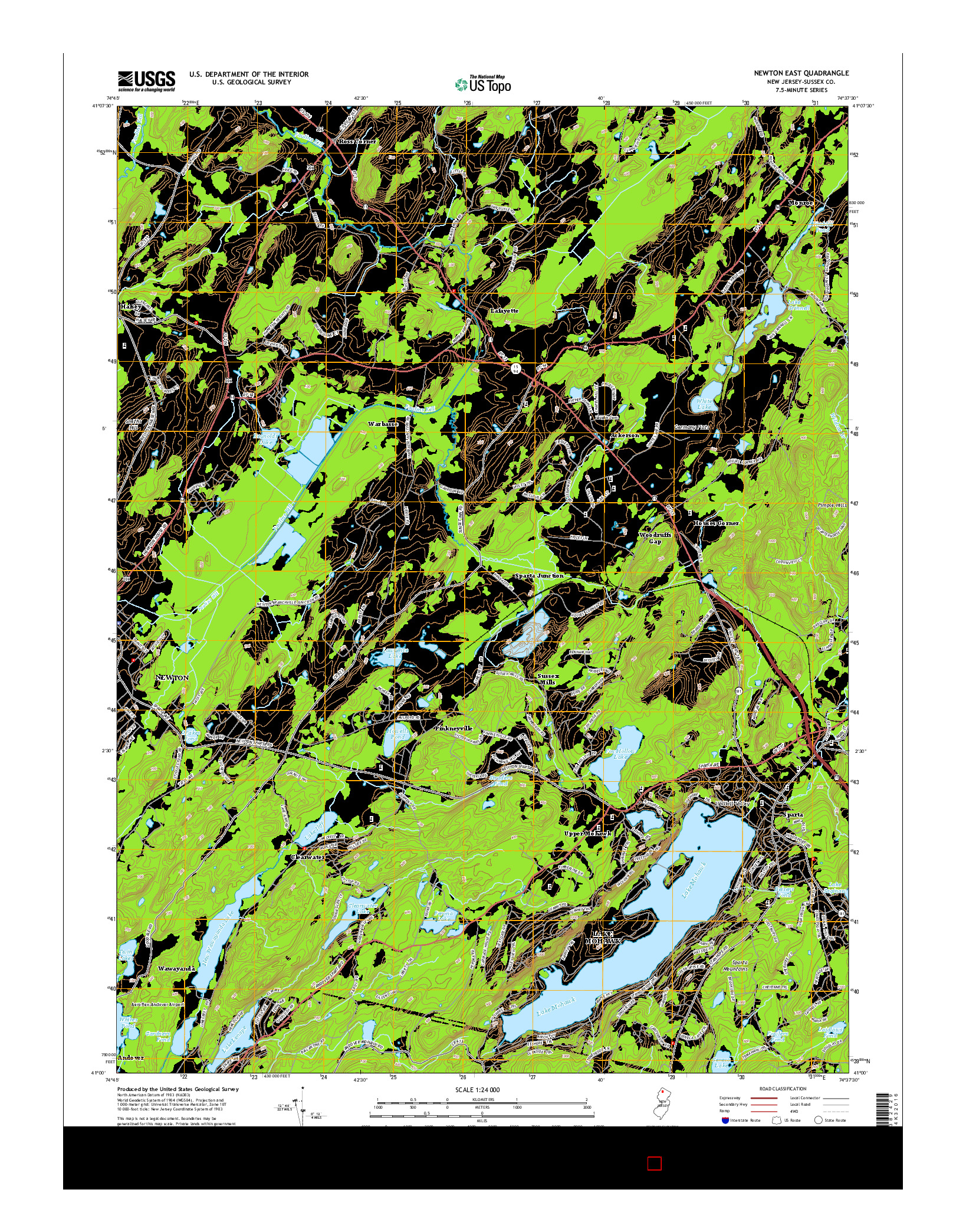 USGS US TOPO 7.5-MINUTE MAP FOR NEWTON EAST, NJ 2014