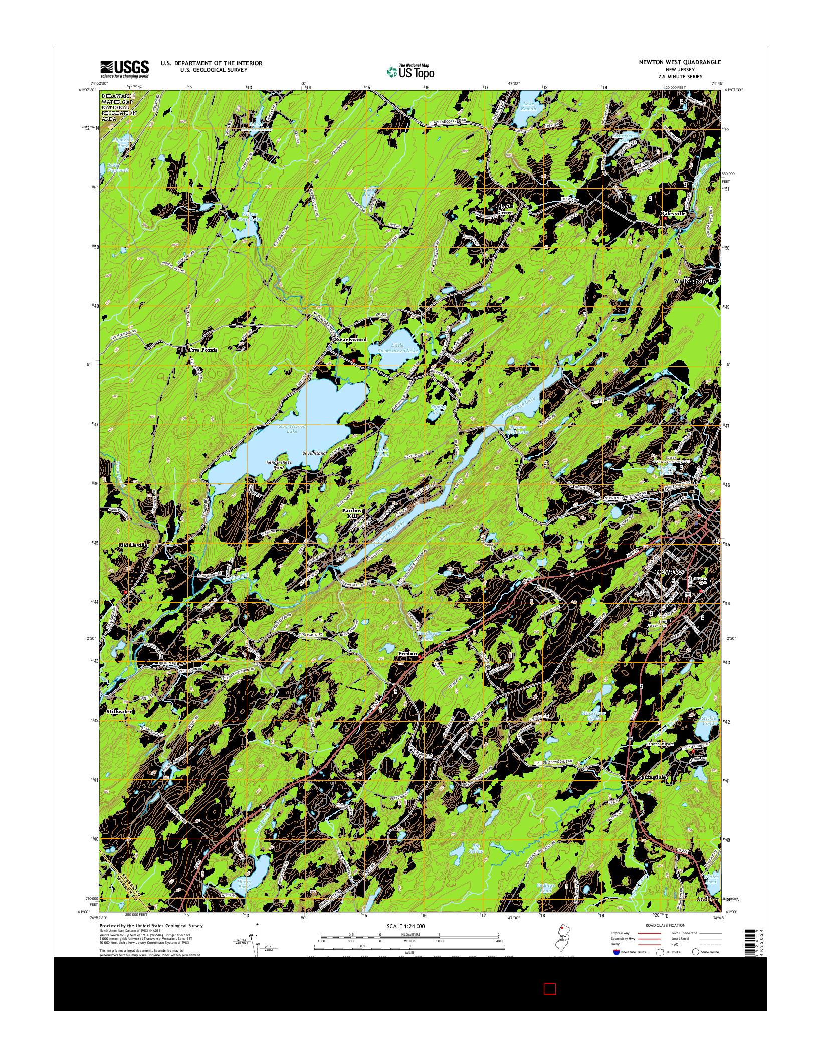 USGS US TOPO 7.5-MINUTE MAP FOR NEWTON WEST, NJ 2014