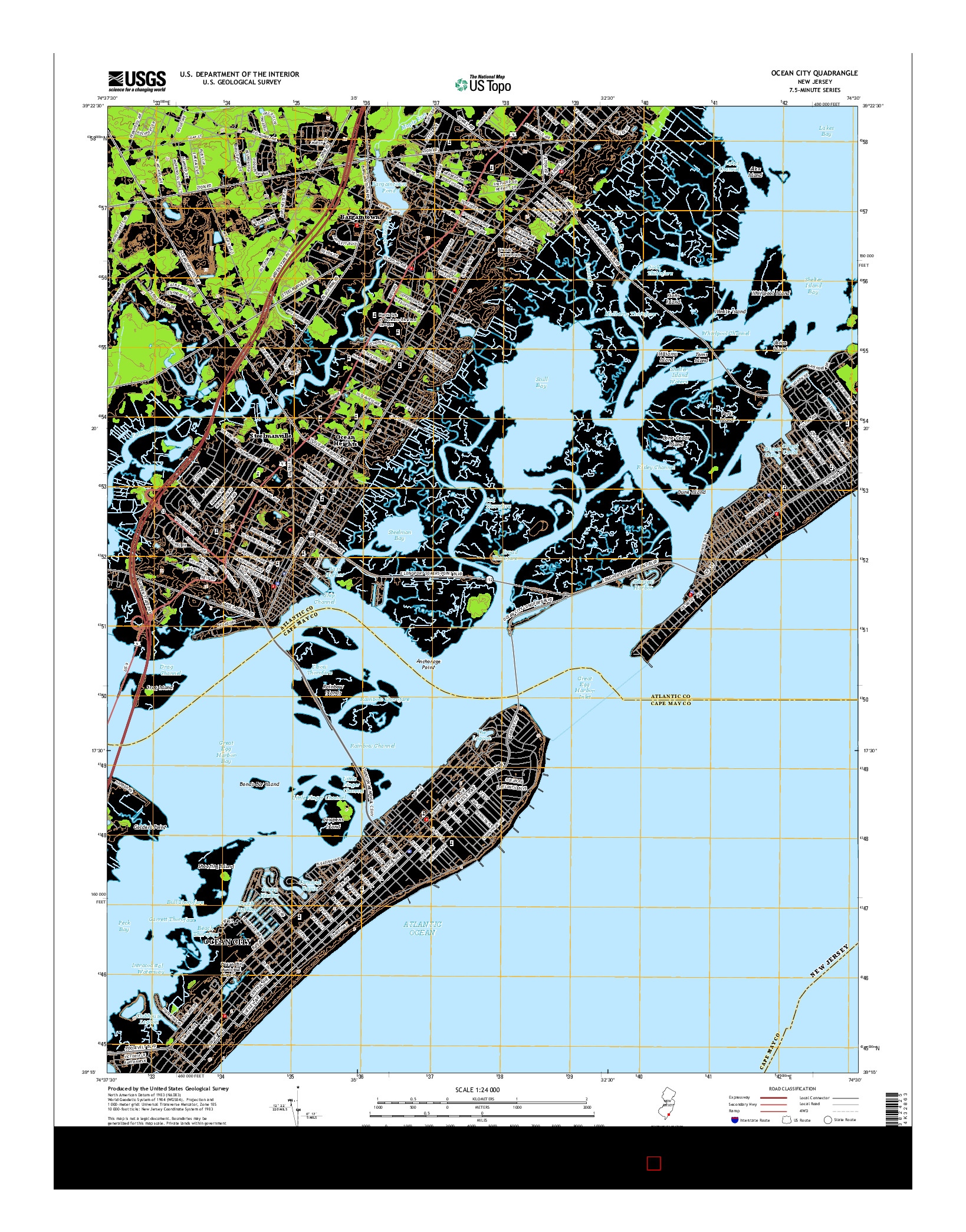 USGS US TOPO 7.5-MINUTE MAP FOR OCEAN CITY, NJ 2014