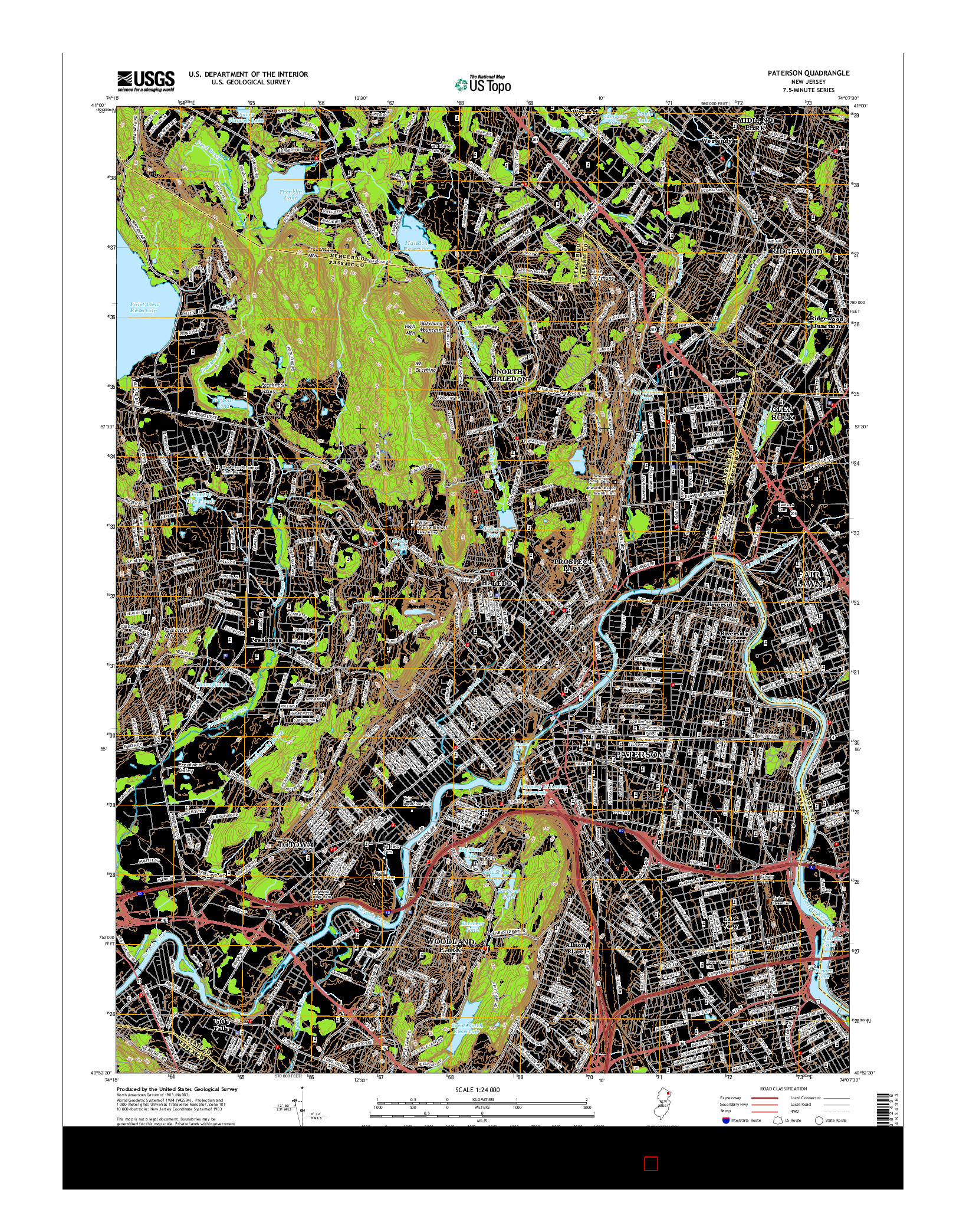USGS US TOPO 7.5-MINUTE MAP FOR PATERSON, NJ 2014