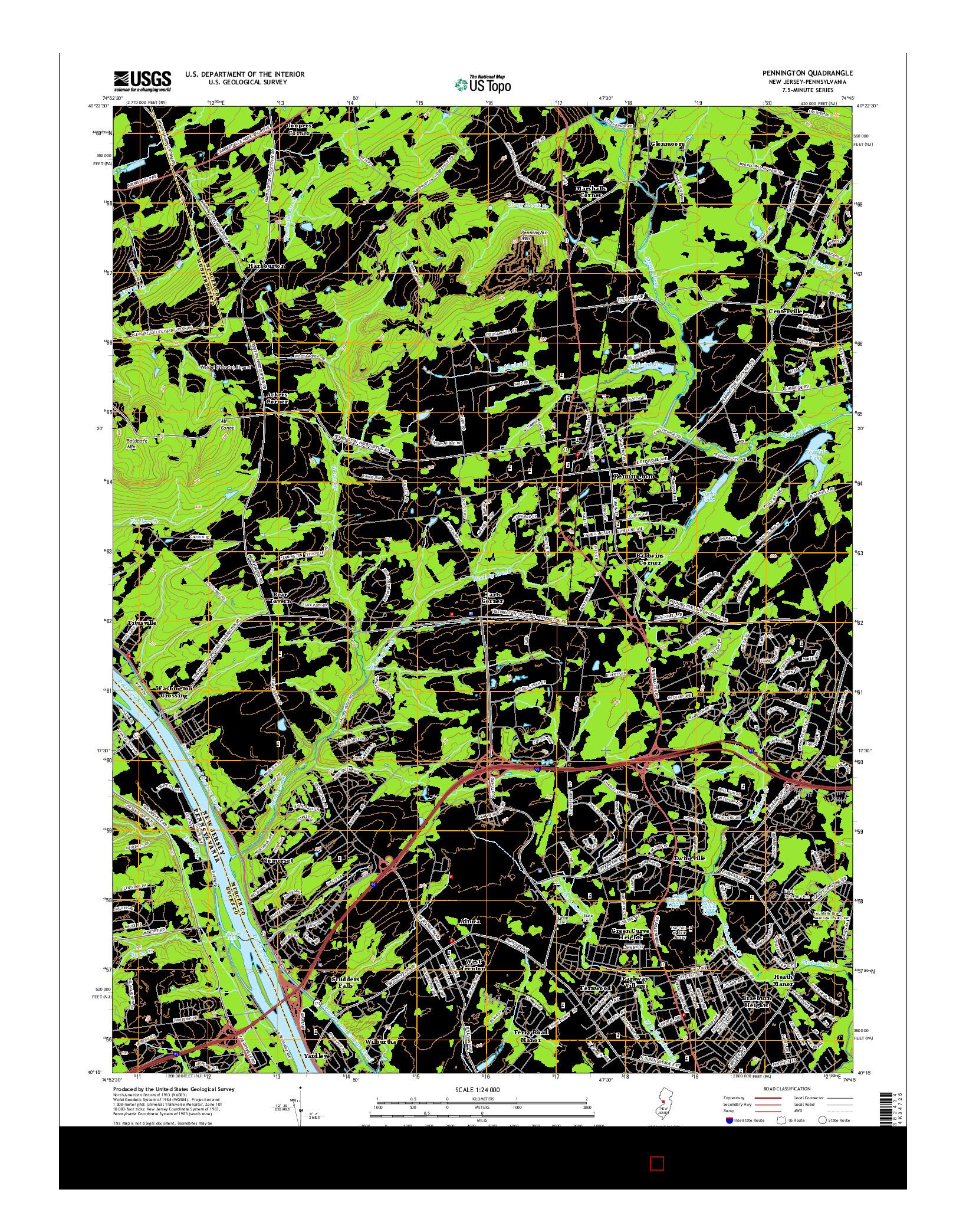 USGS US TOPO 7.5-MINUTE MAP FOR PENNINGTON, NJ-PA 2014
