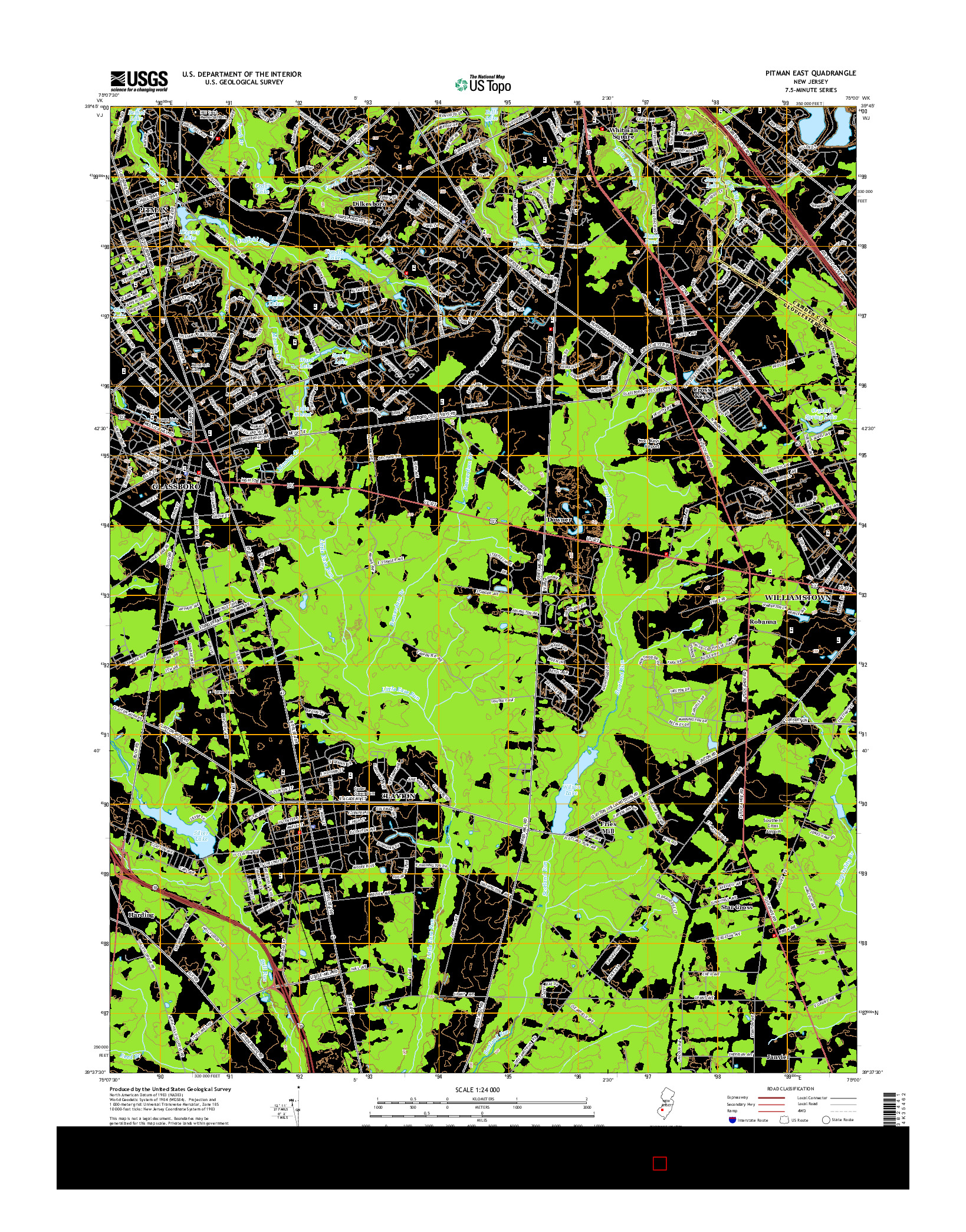 USGS US TOPO 7.5-MINUTE MAP FOR PITMAN EAST, NJ 2014