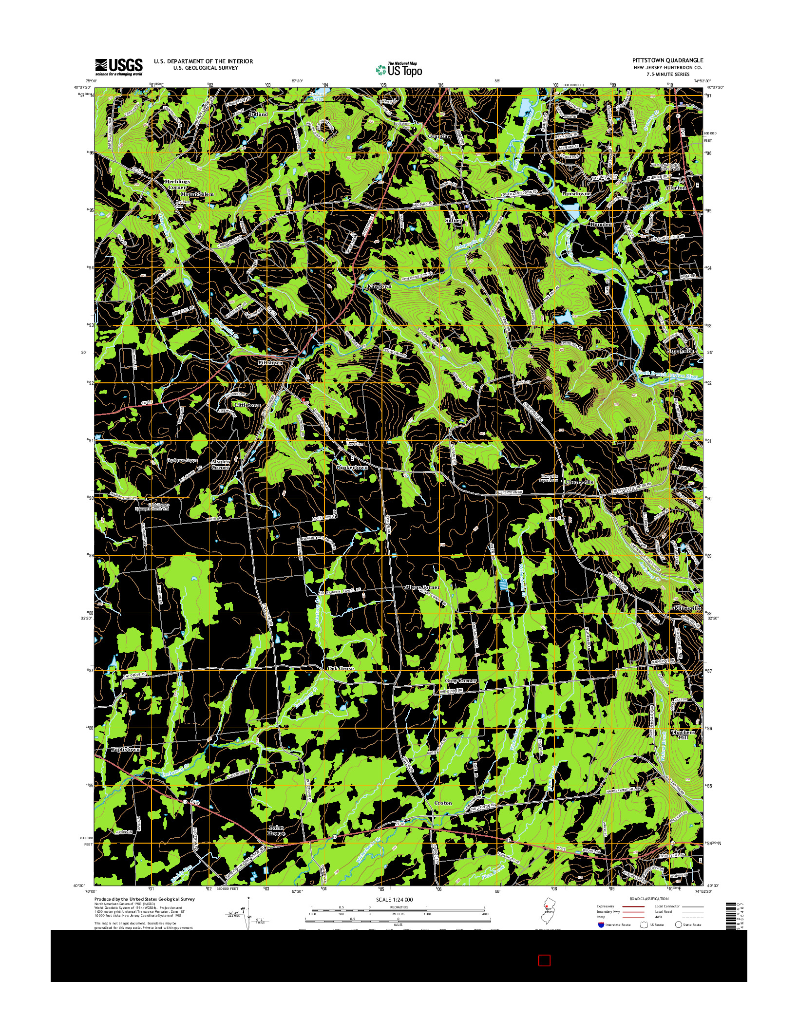 USGS US TOPO 7.5-MINUTE MAP FOR PITTSTOWN, NJ 2014