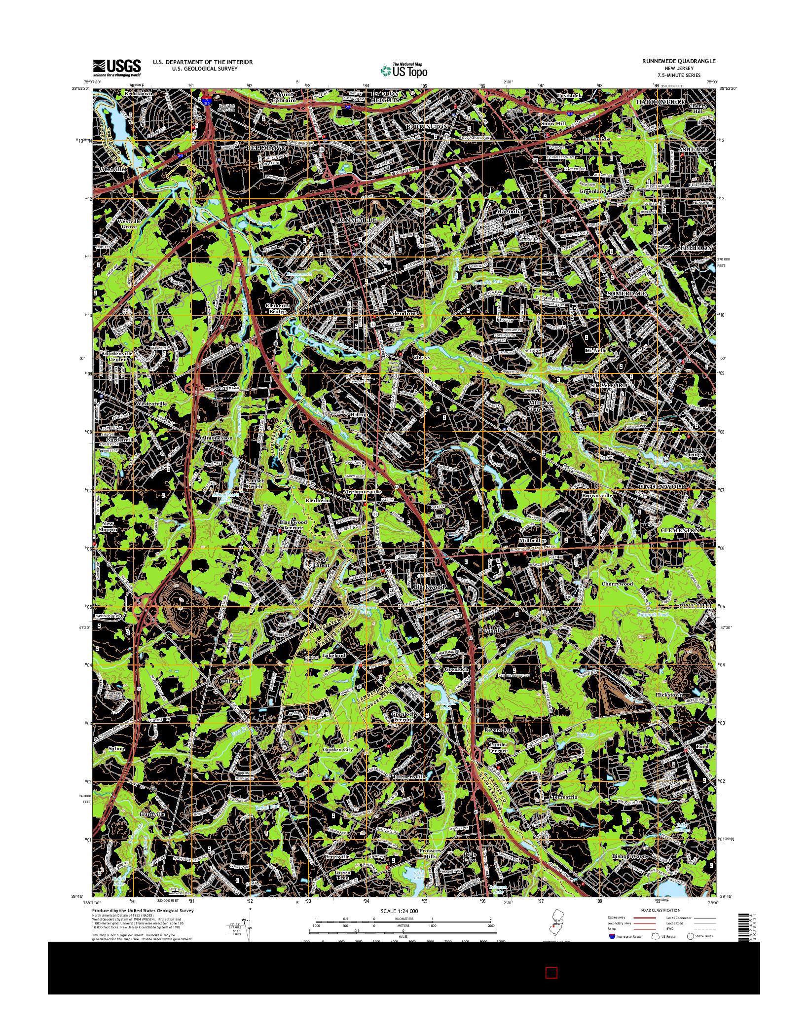 USGS US TOPO 7.5-MINUTE MAP FOR RUNNEMEDE, NJ 2014
