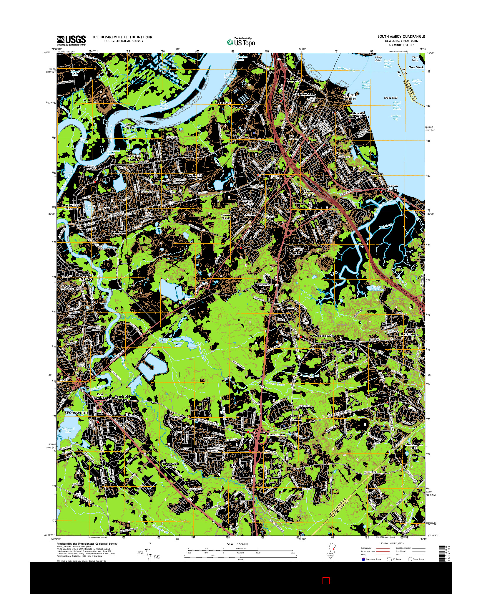 USGS US TOPO 7.5-MINUTE MAP FOR SOUTH AMBOY, NJ-NY 2014