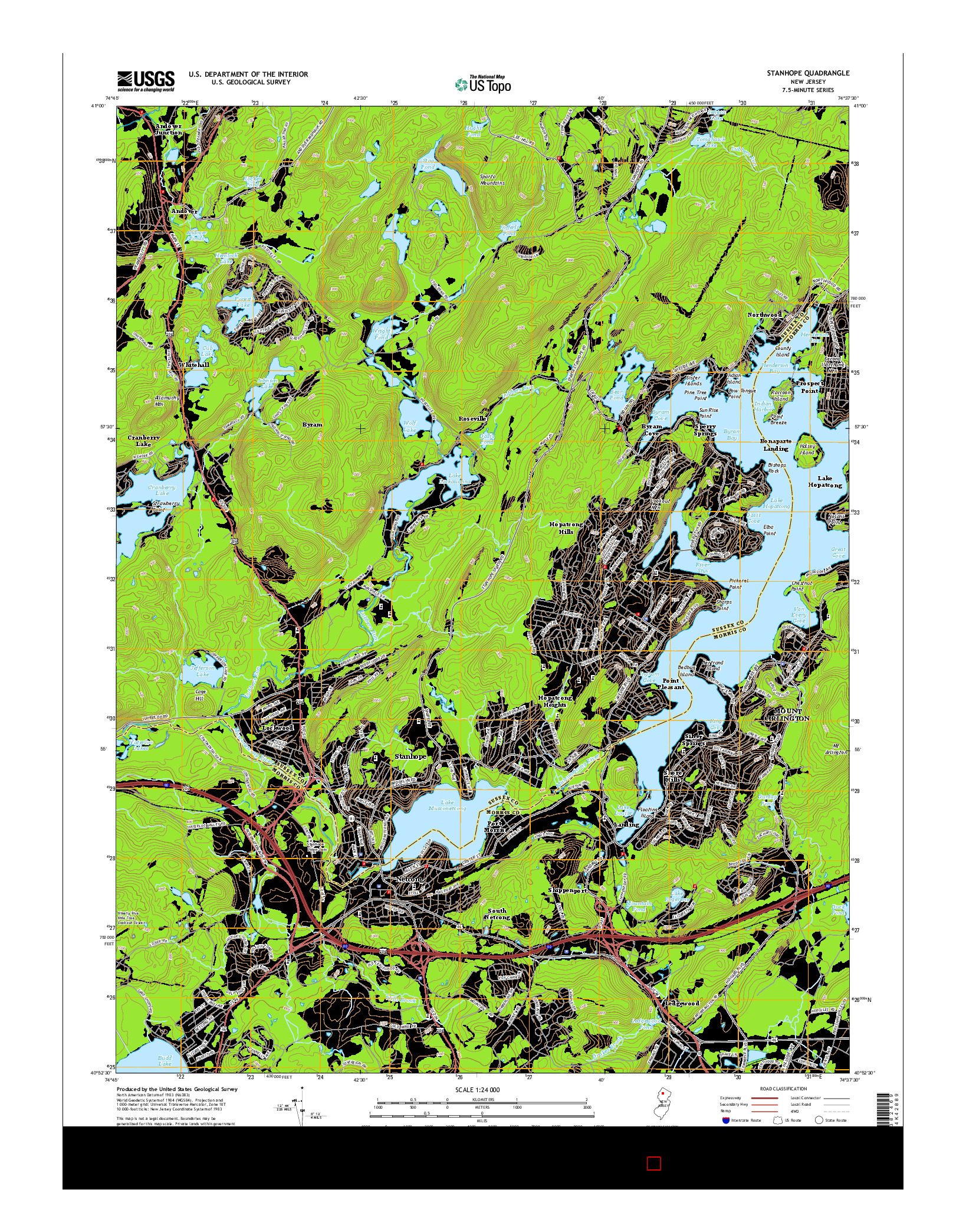 USGS US TOPO 7.5-MINUTE MAP FOR STANHOPE, NJ 2014