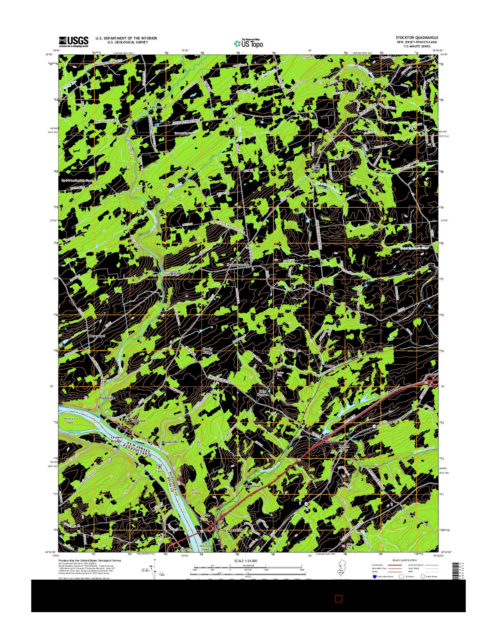 USGS US TOPO 7.5-MINUTE MAP FOR STOCKTON, NJ-PA 2014