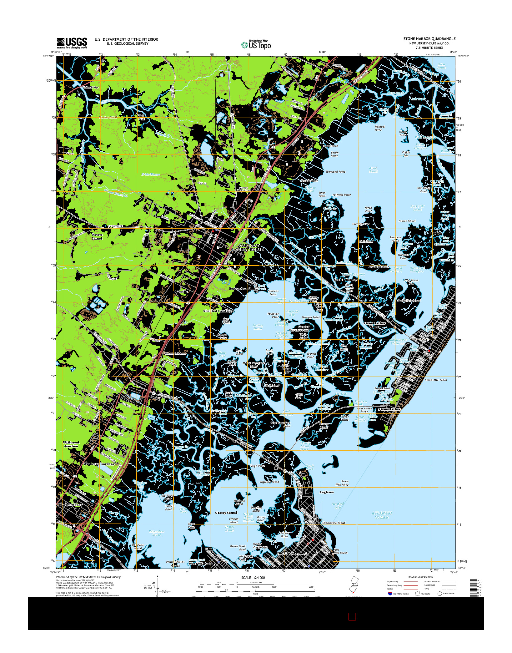 USGS US TOPO 7.5-MINUTE MAP FOR STONE HARBOR, NJ 2014