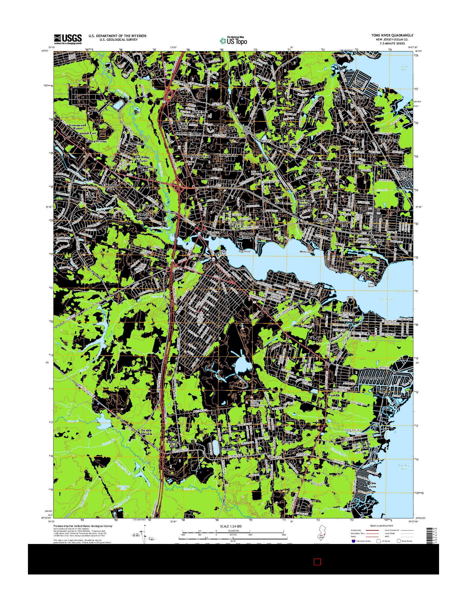 USGS US TOPO 7.5-MINUTE MAP FOR TOMS RIVER, NJ 2014