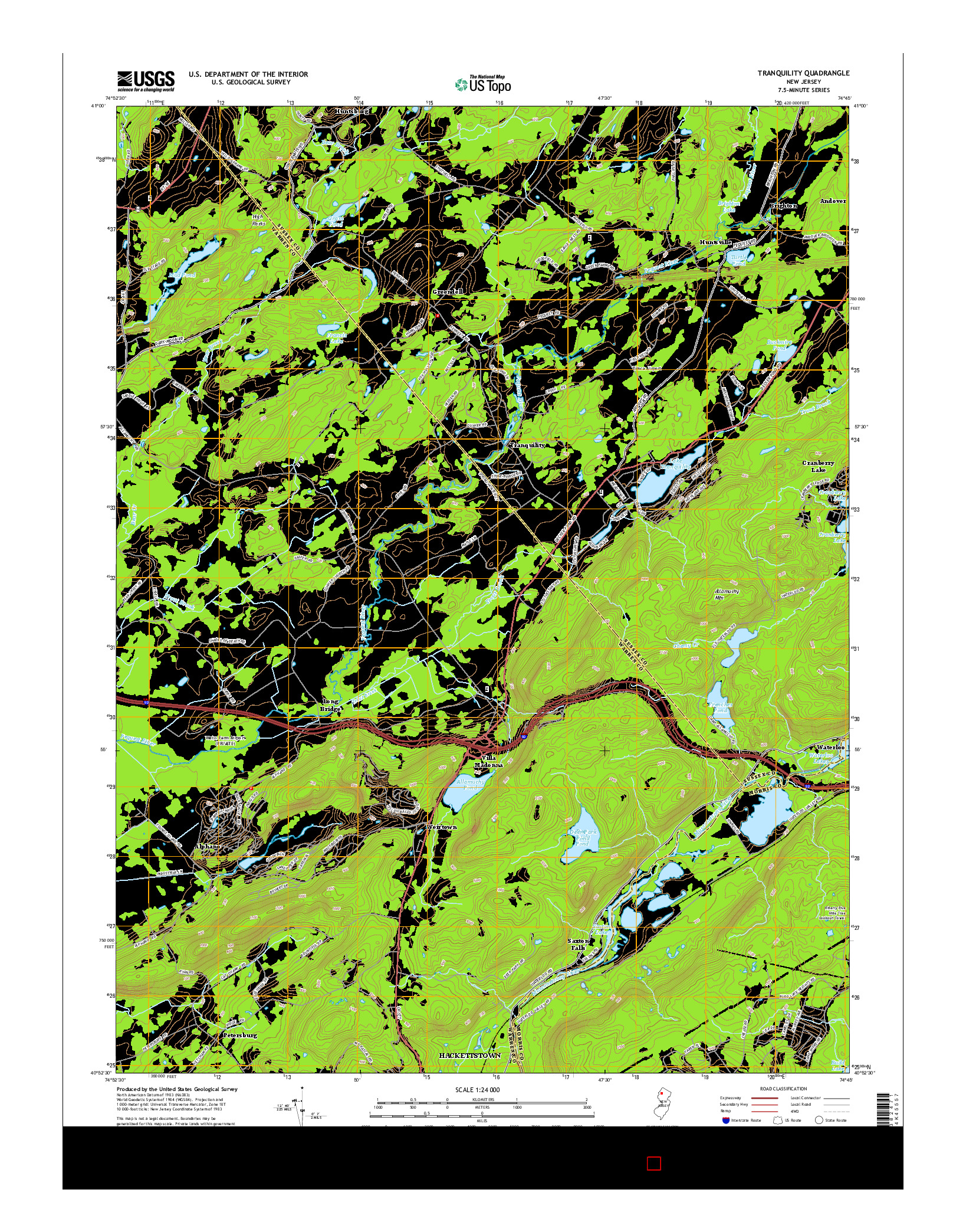 USGS US TOPO 7.5-MINUTE MAP FOR TRANQUILITY, NJ 2014
