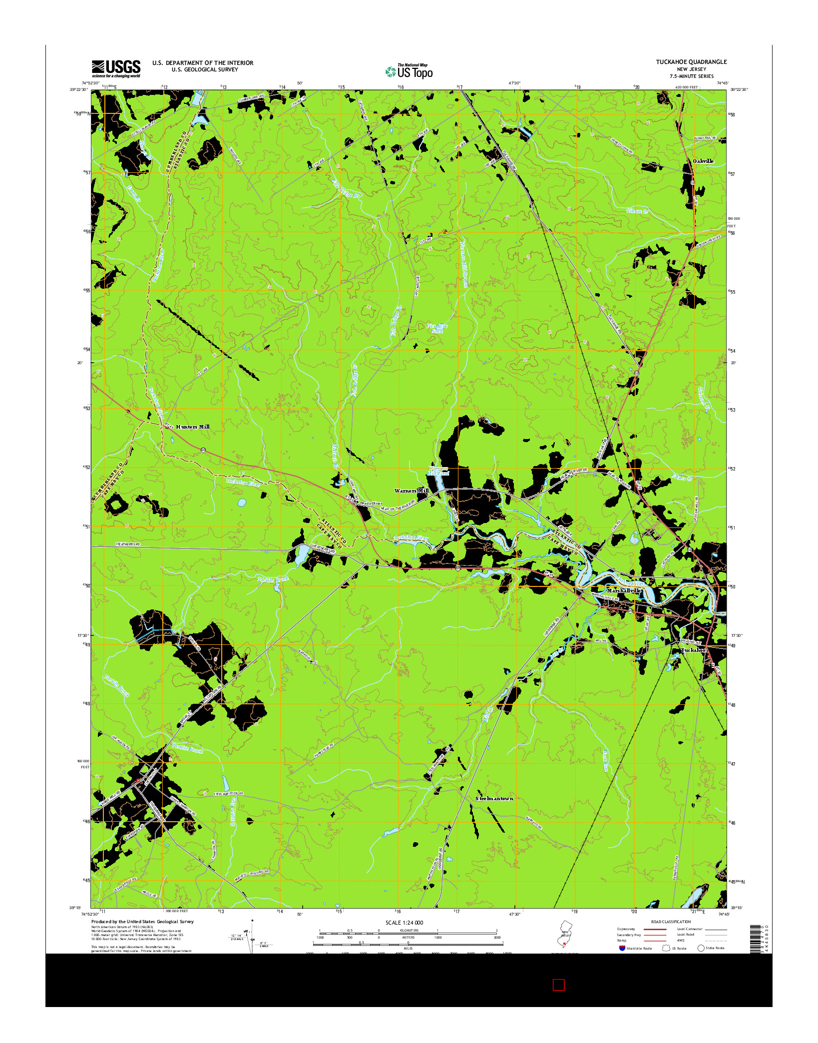 USGS US TOPO 7.5-MINUTE MAP FOR TUCKAHOE, NJ 2014