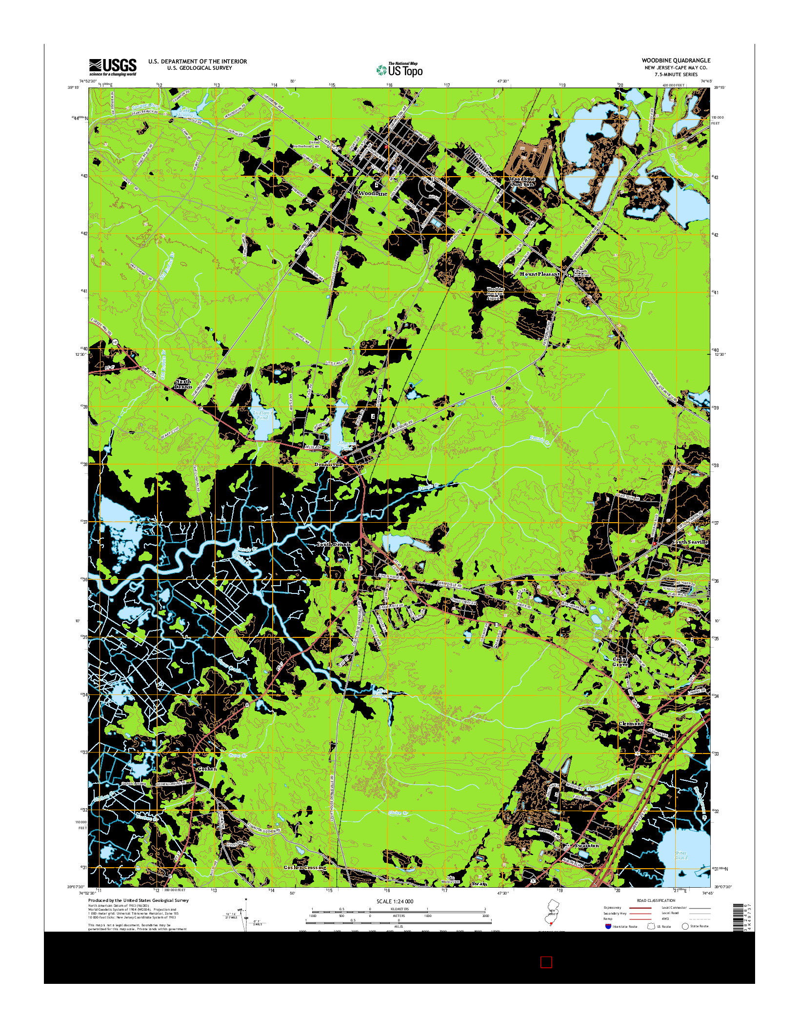 USGS US TOPO 7.5-MINUTE MAP FOR WOODBINE, NJ 2014