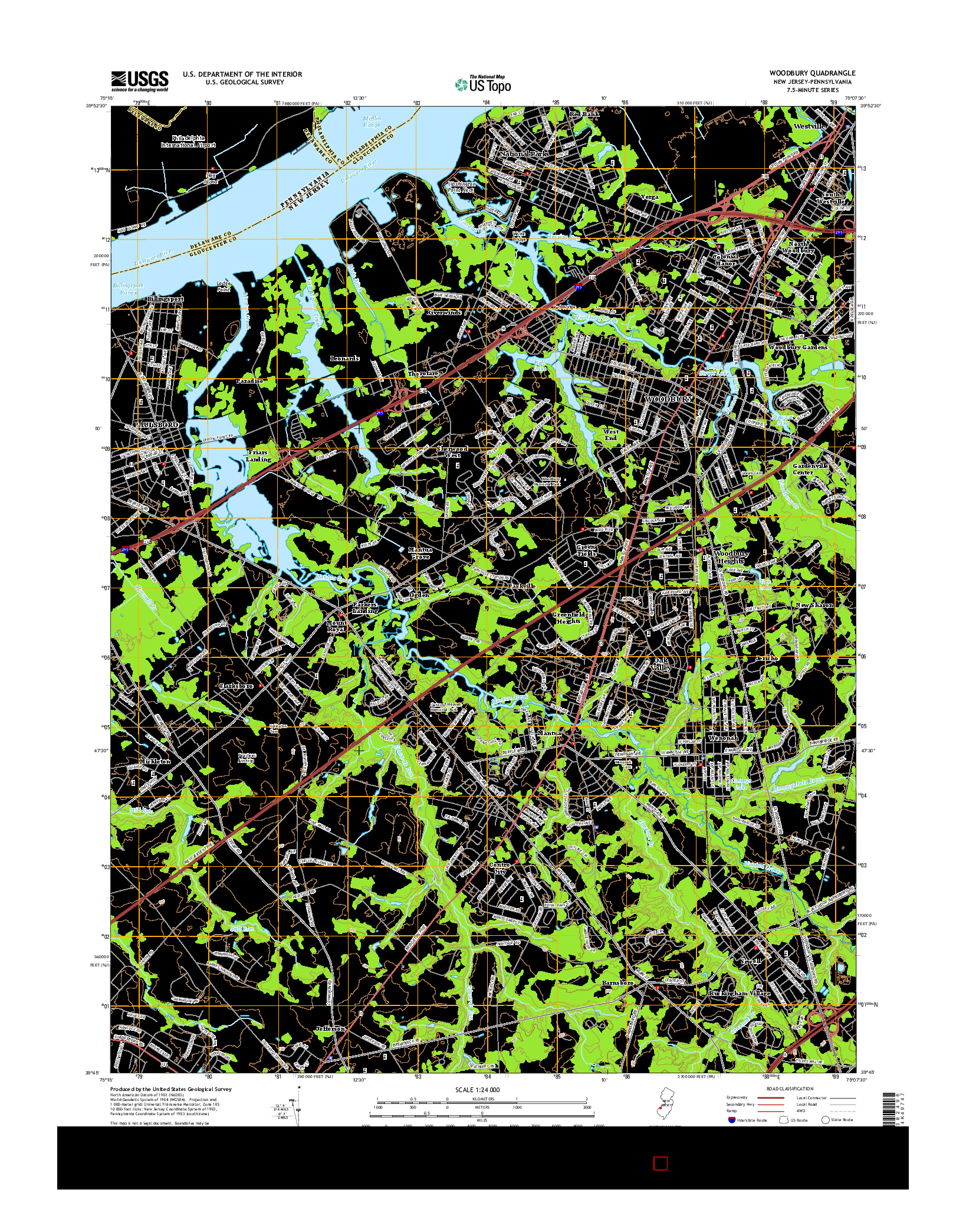 USGS US TOPO 7.5-MINUTE MAP FOR WOODBURY, NJ-PA 2014