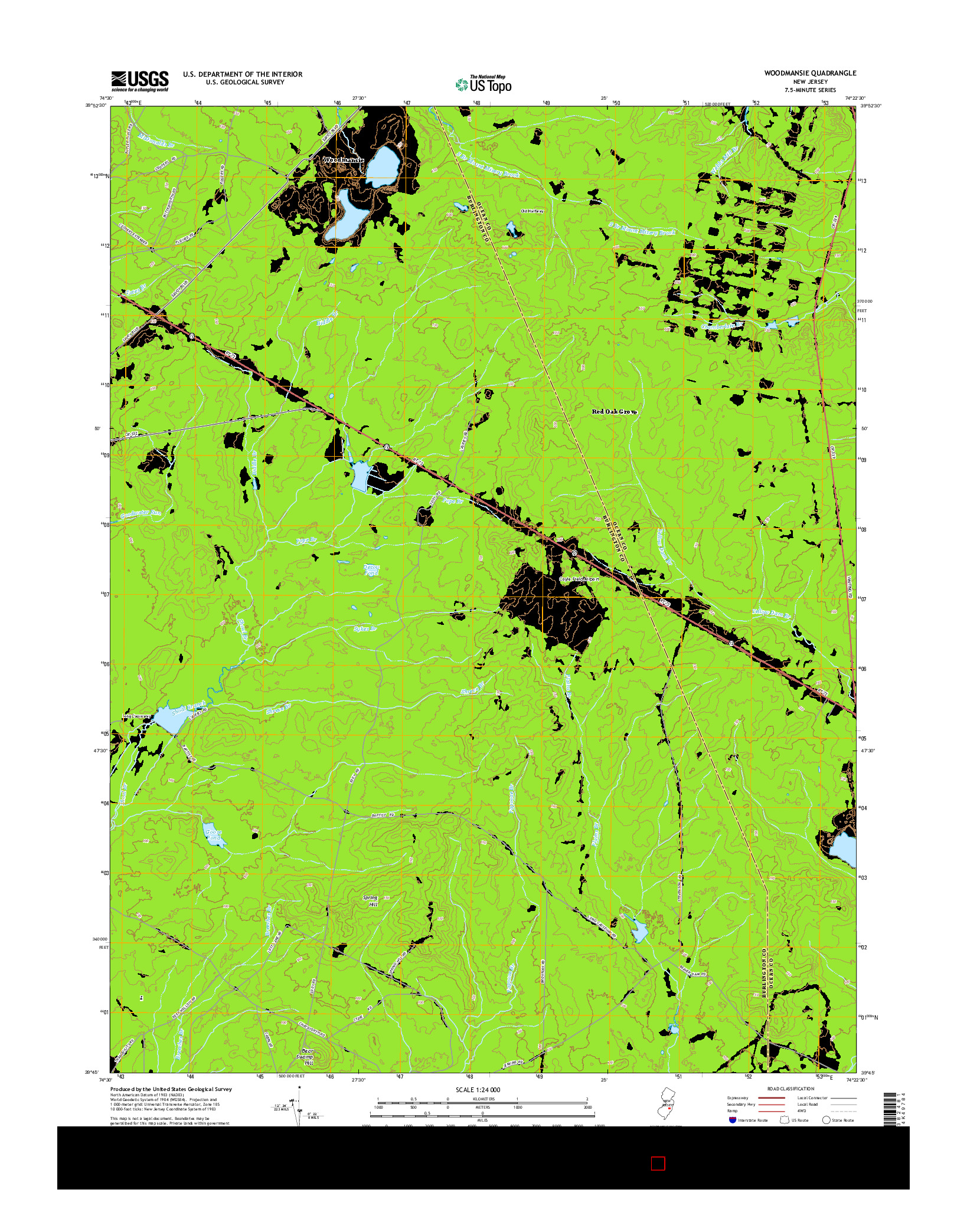 USGS US TOPO 7.5-MINUTE MAP FOR WOODMANSIE, NJ 2014