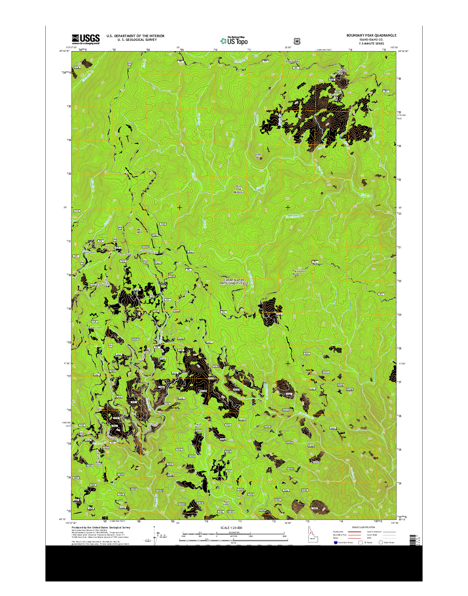 USGS US TOPO 7.5-MINUTE MAP FOR BOUNDARY PEAK, ID 2014
