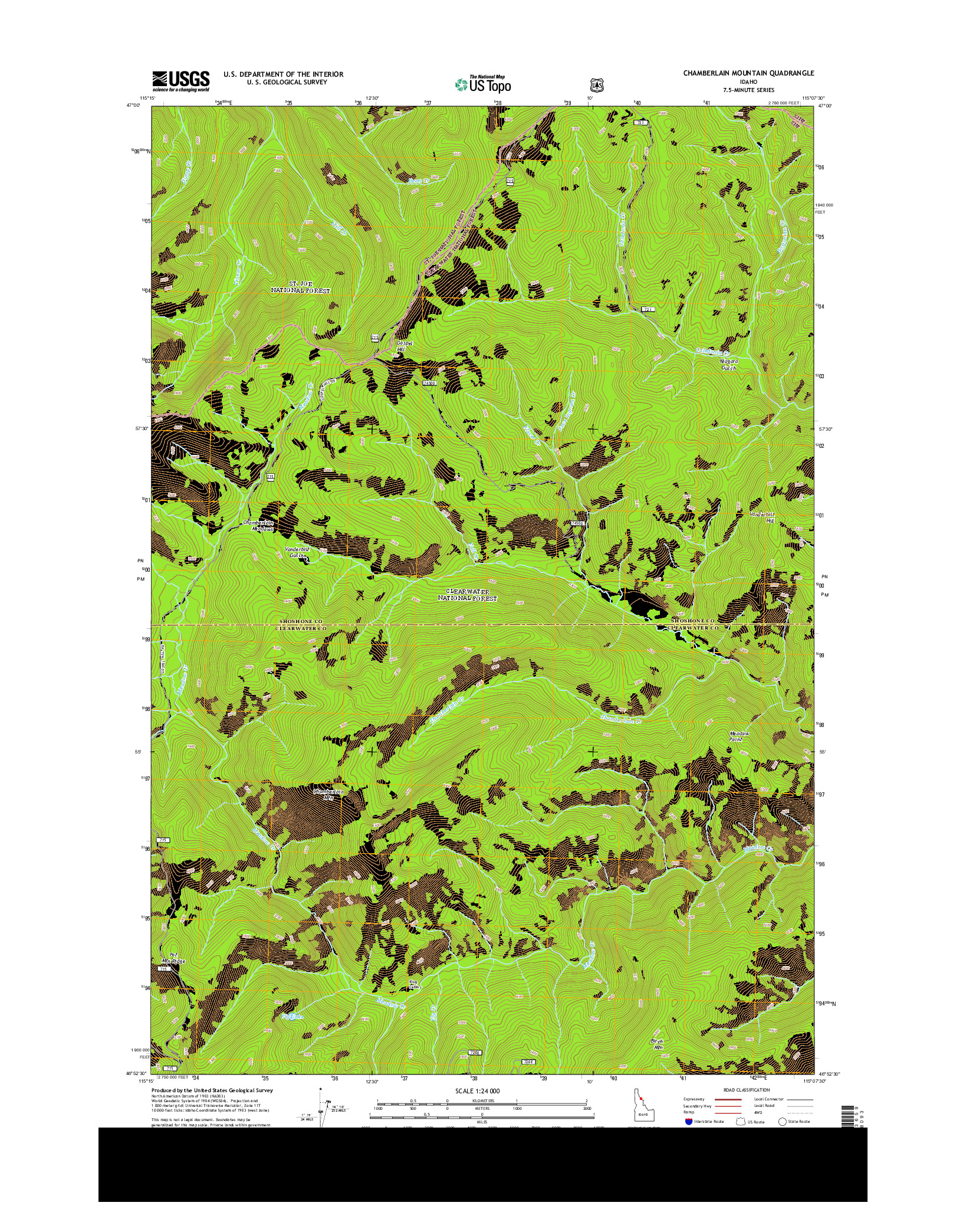 USGS US TOPO 7.5-MINUTE MAP FOR CHAMBERLAIN MOUNTAIN, ID 2014