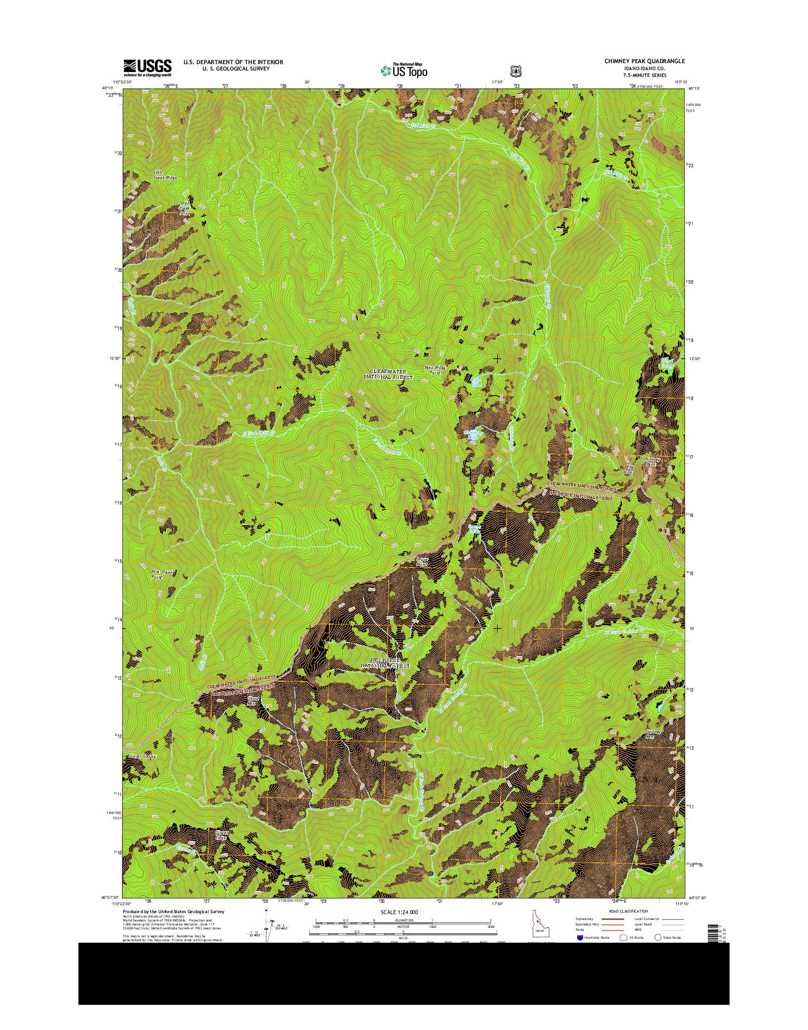USGS US TOPO 7.5-MINUTE MAP FOR CHIMNEY PEAK, ID 2014