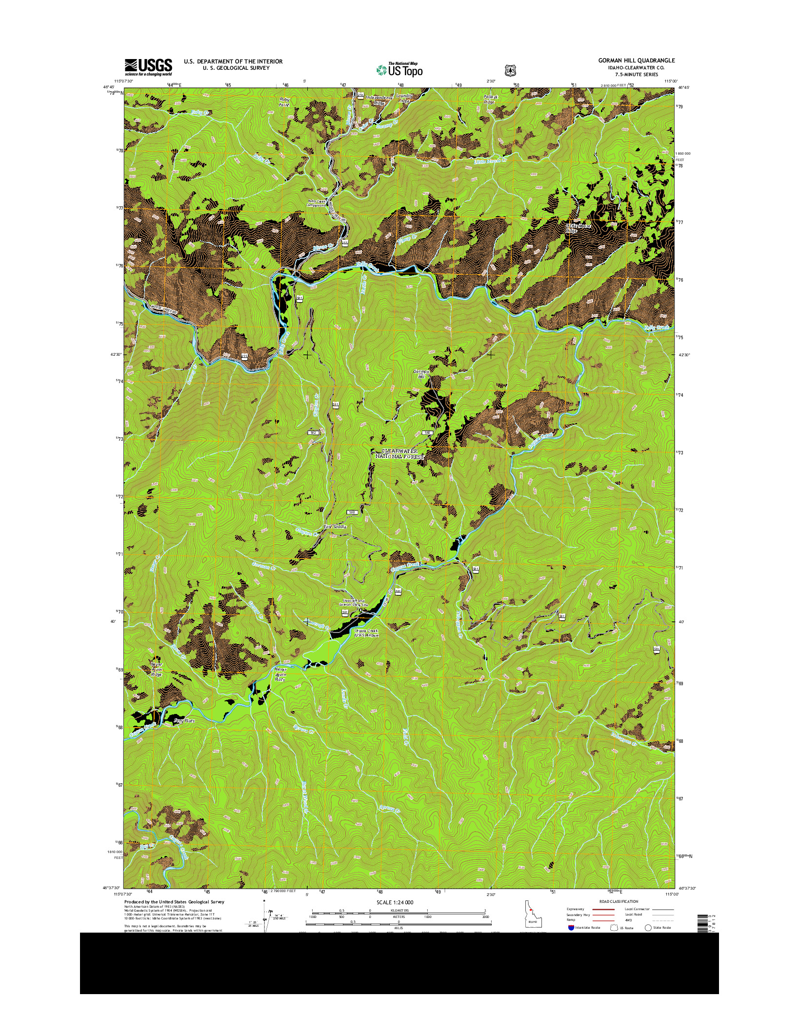 USGS US TOPO 7.5-MINUTE MAP FOR GORMAN HILL, ID 2014