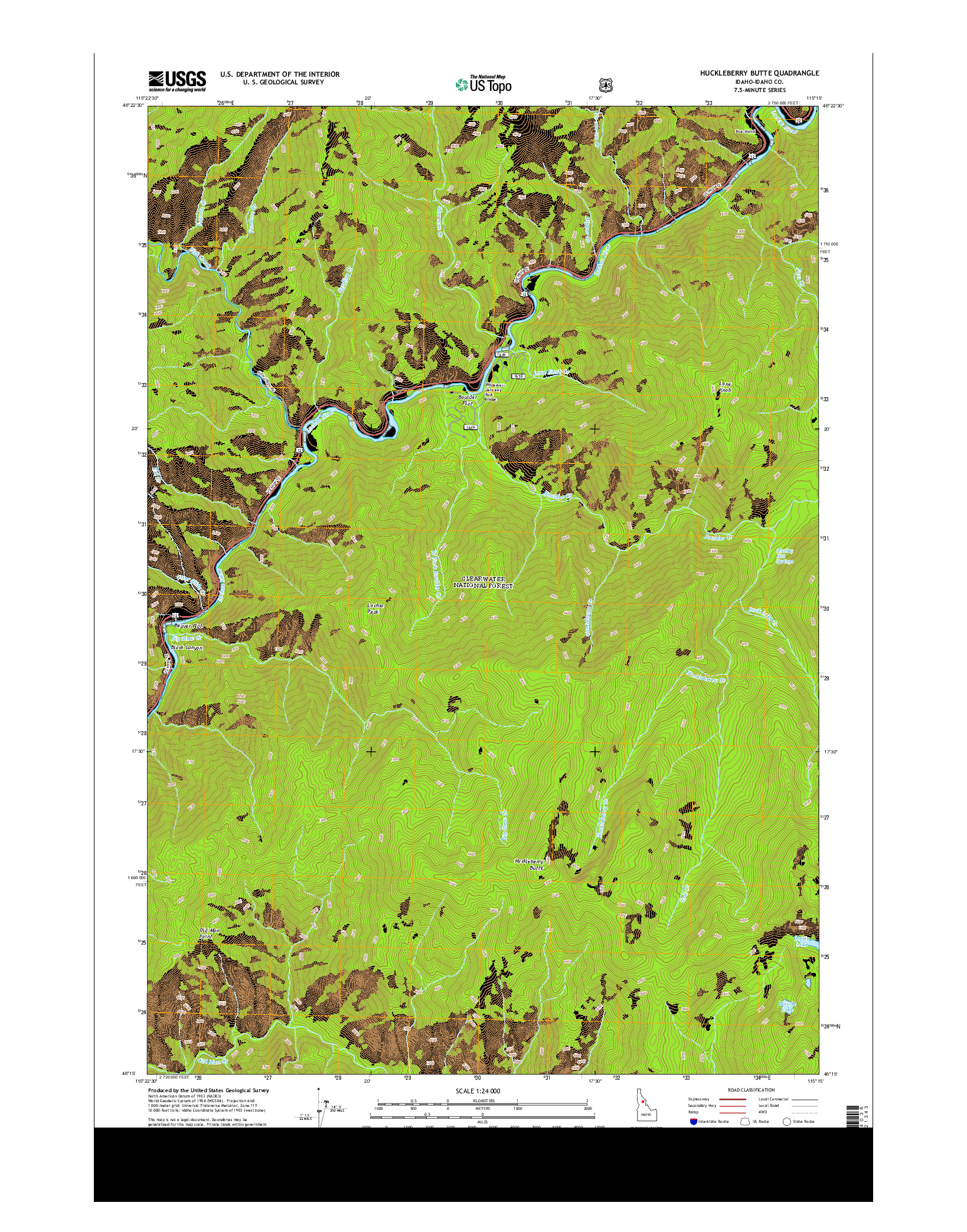 USGS US TOPO 7.5-MINUTE MAP FOR HUCKLEBERRY BUTTE, ID 2014