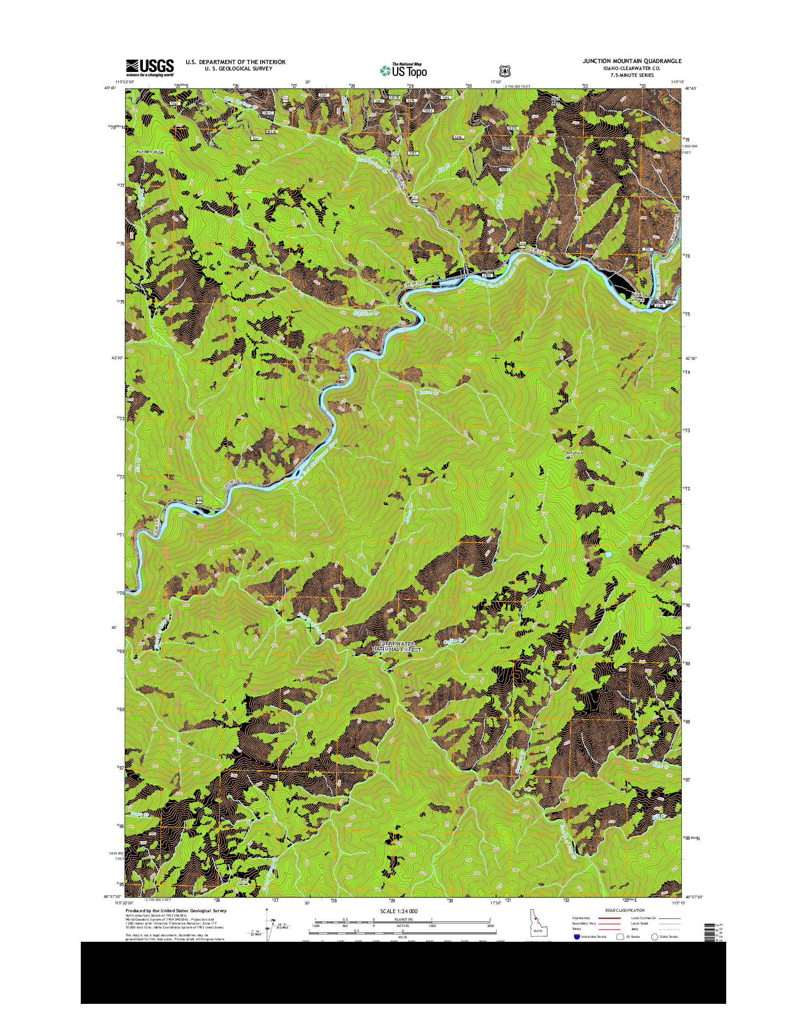 USGS US TOPO 7.5-MINUTE MAP FOR JUNCTION MOUNTAIN, ID 2014