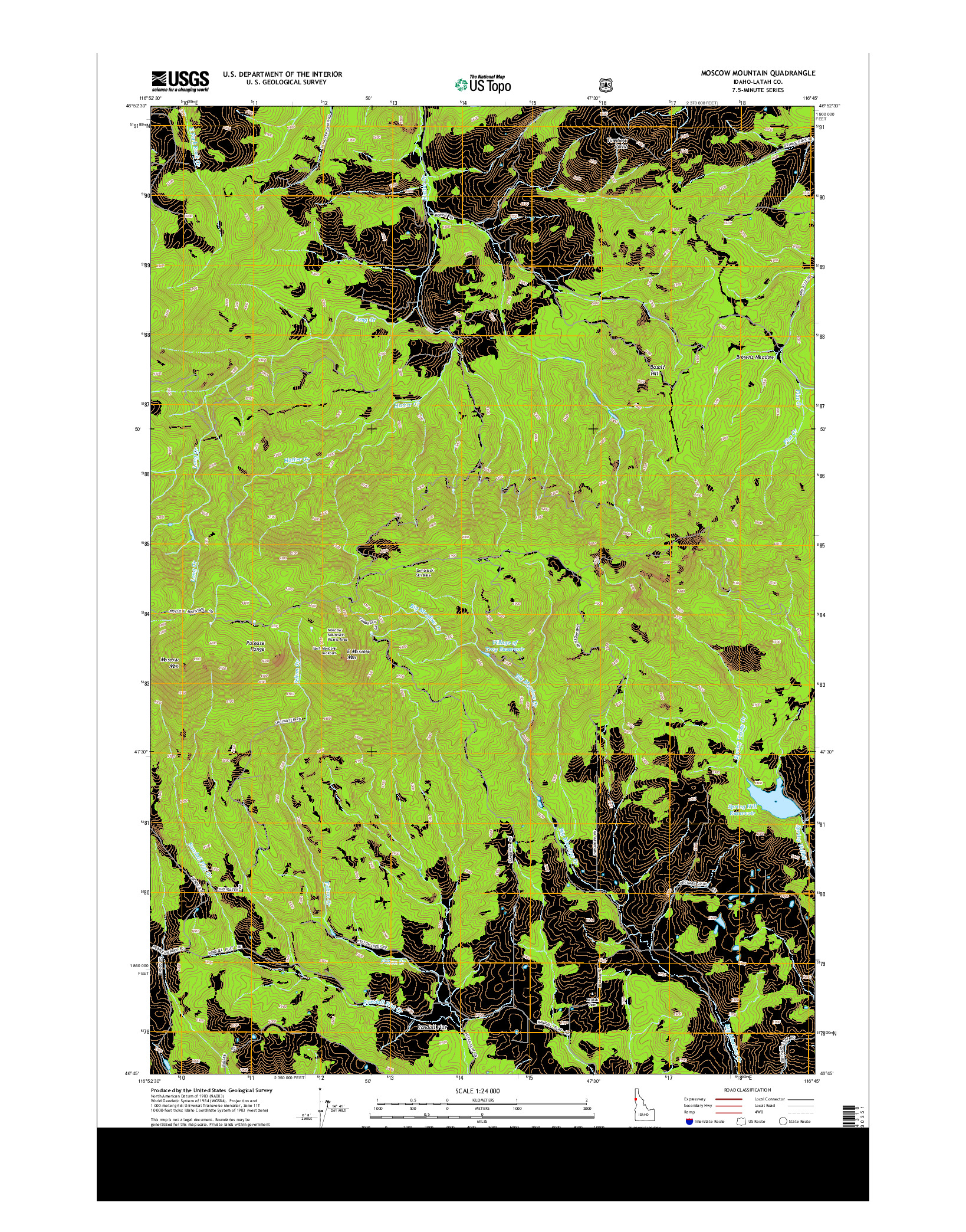 USGS US TOPO 7.5-MINUTE MAP FOR MOSCOW MOUNTAIN, ID 2014