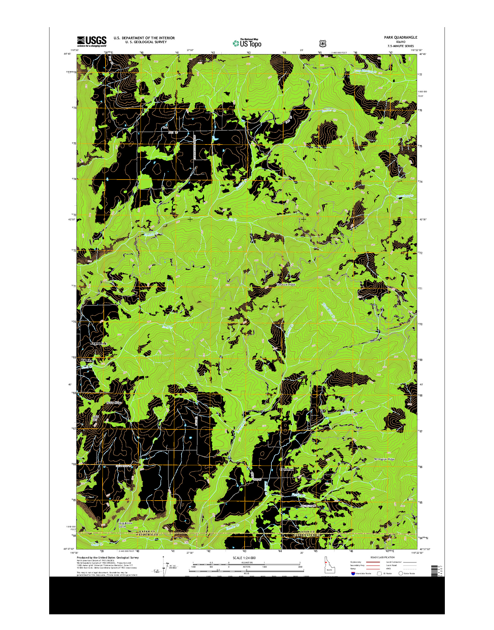 USGS US TOPO 7.5-MINUTE MAP FOR PARK, ID 2014