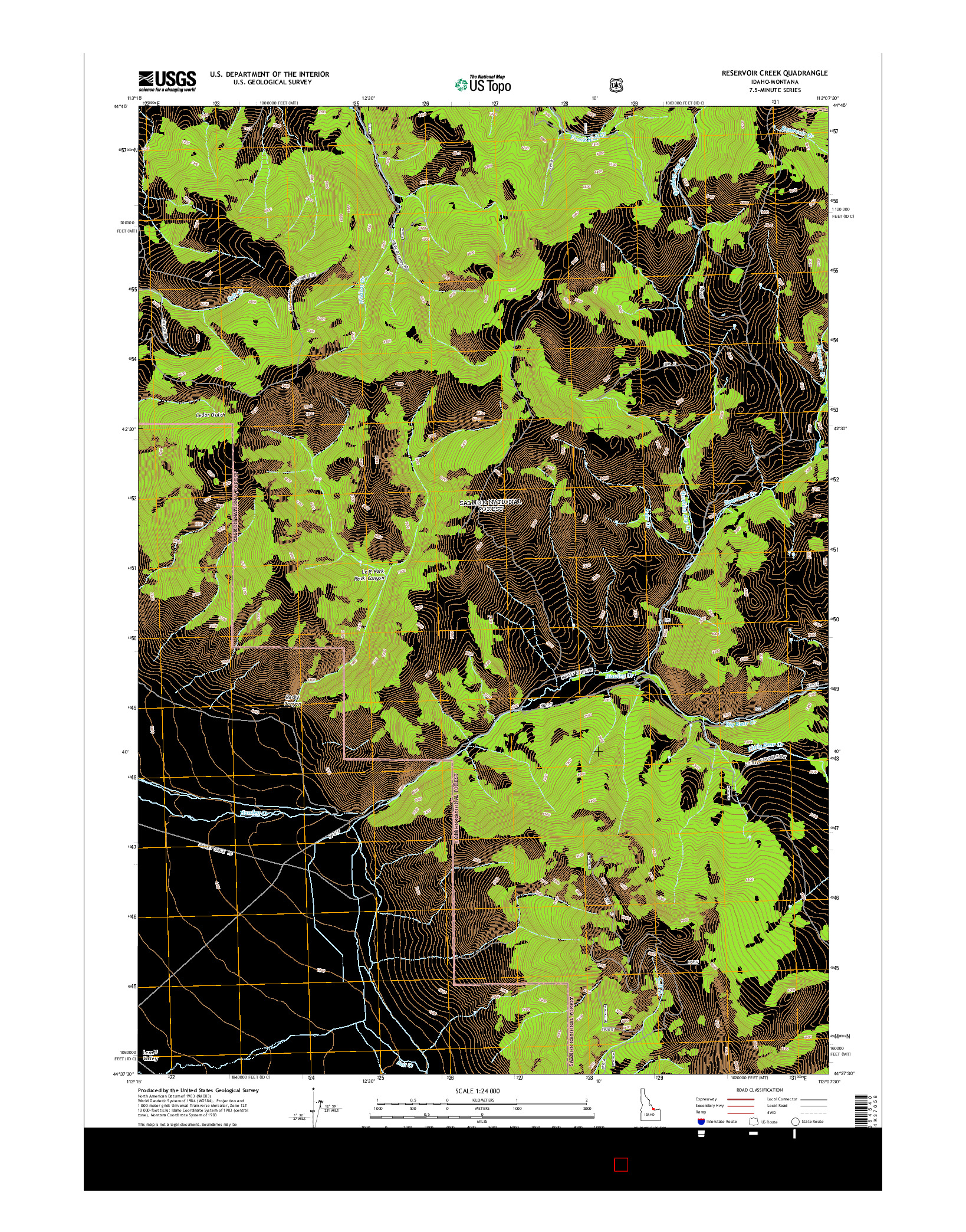 USGS US TOPO 7.5-MINUTE MAP FOR RESERVOIR CREEK, ID-MT 2014