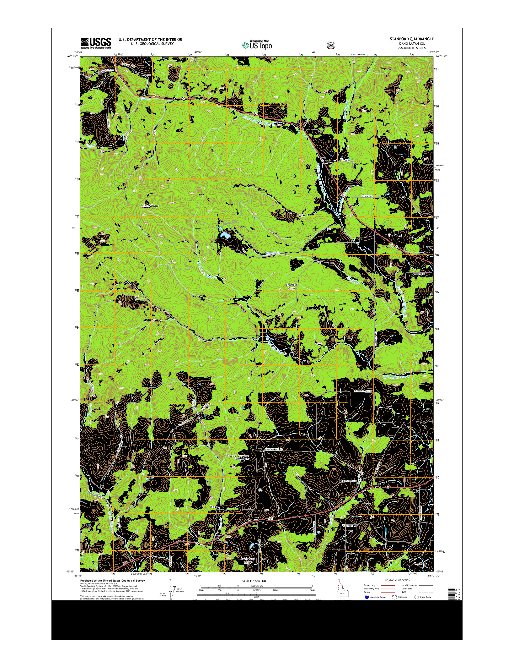 USGS US TOPO 7.5-MINUTE MAP FOR STANFORD, ID 2014