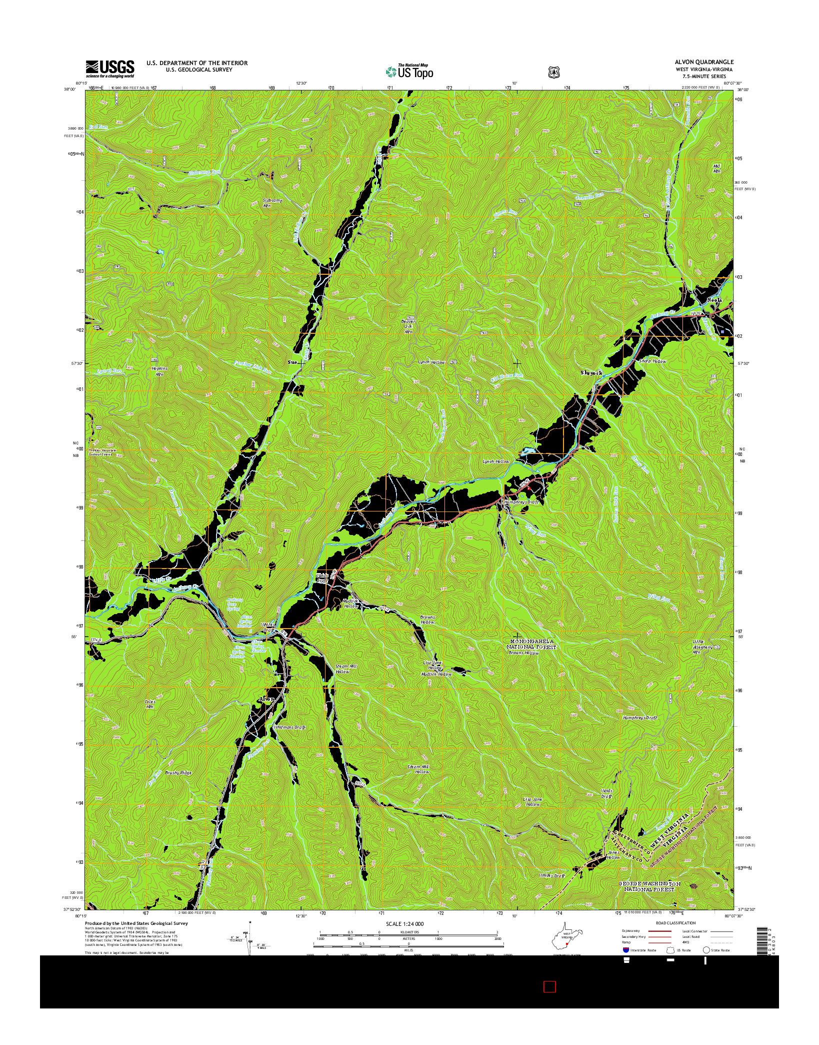 USGS US TOPO 7.5-MINUTE MAP FOR ALVON, WV-VA 2014