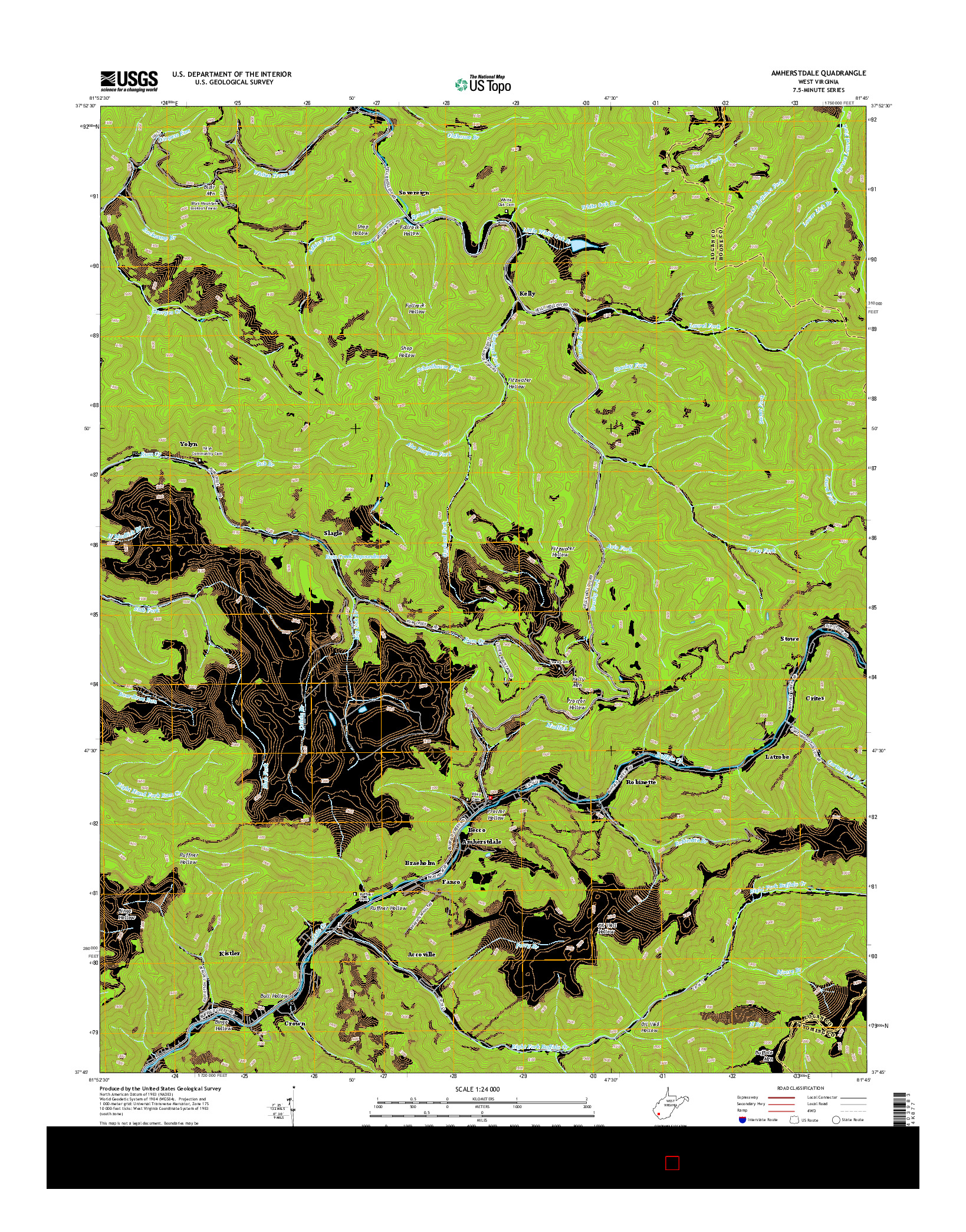 USGS US TOPO 7.5-MINUTE MAP FOR AMHERSTDALE, WV 2014