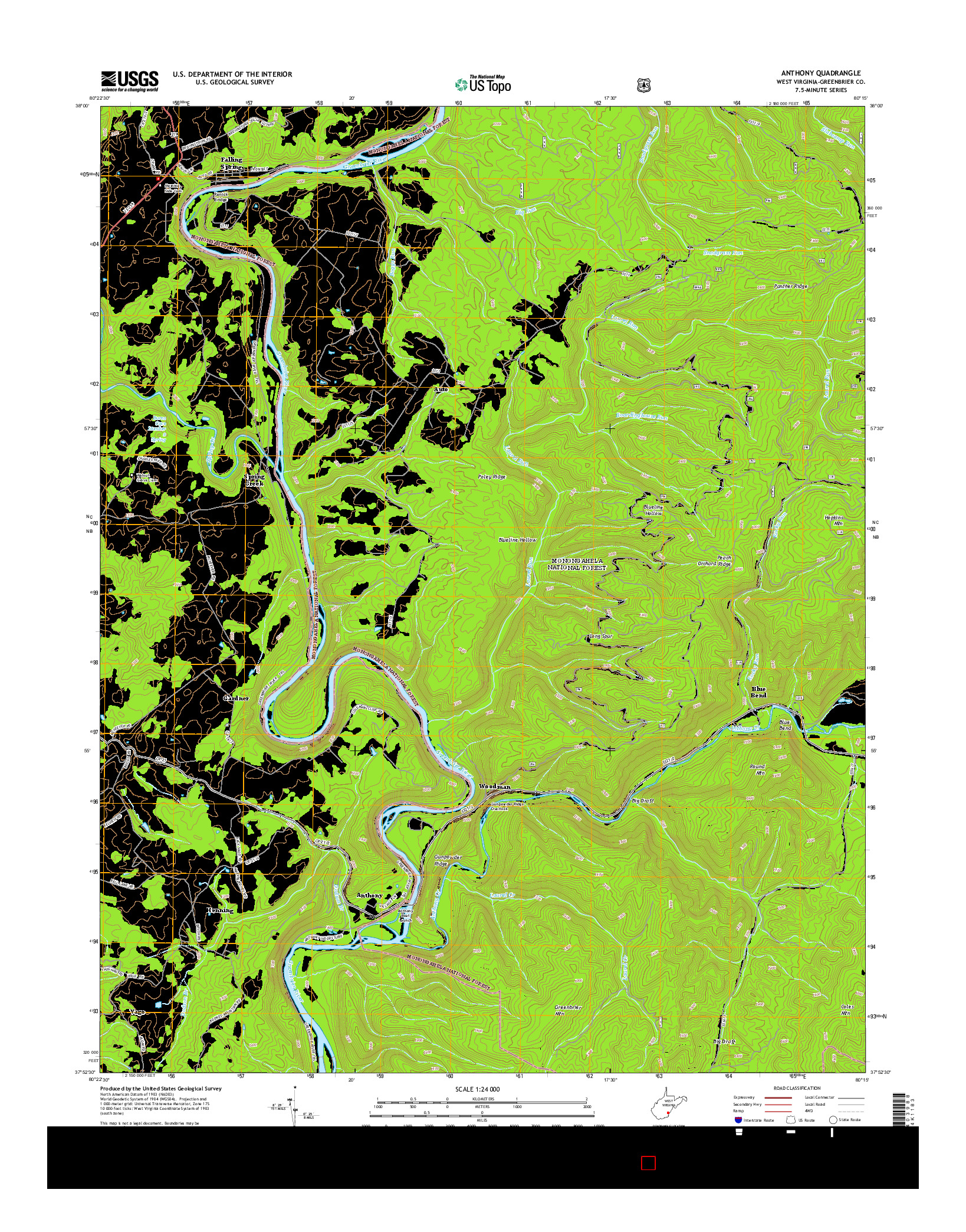 USGS US TOPO 7.5-MINUTE MAP FOR ANTHONY, WV 2014