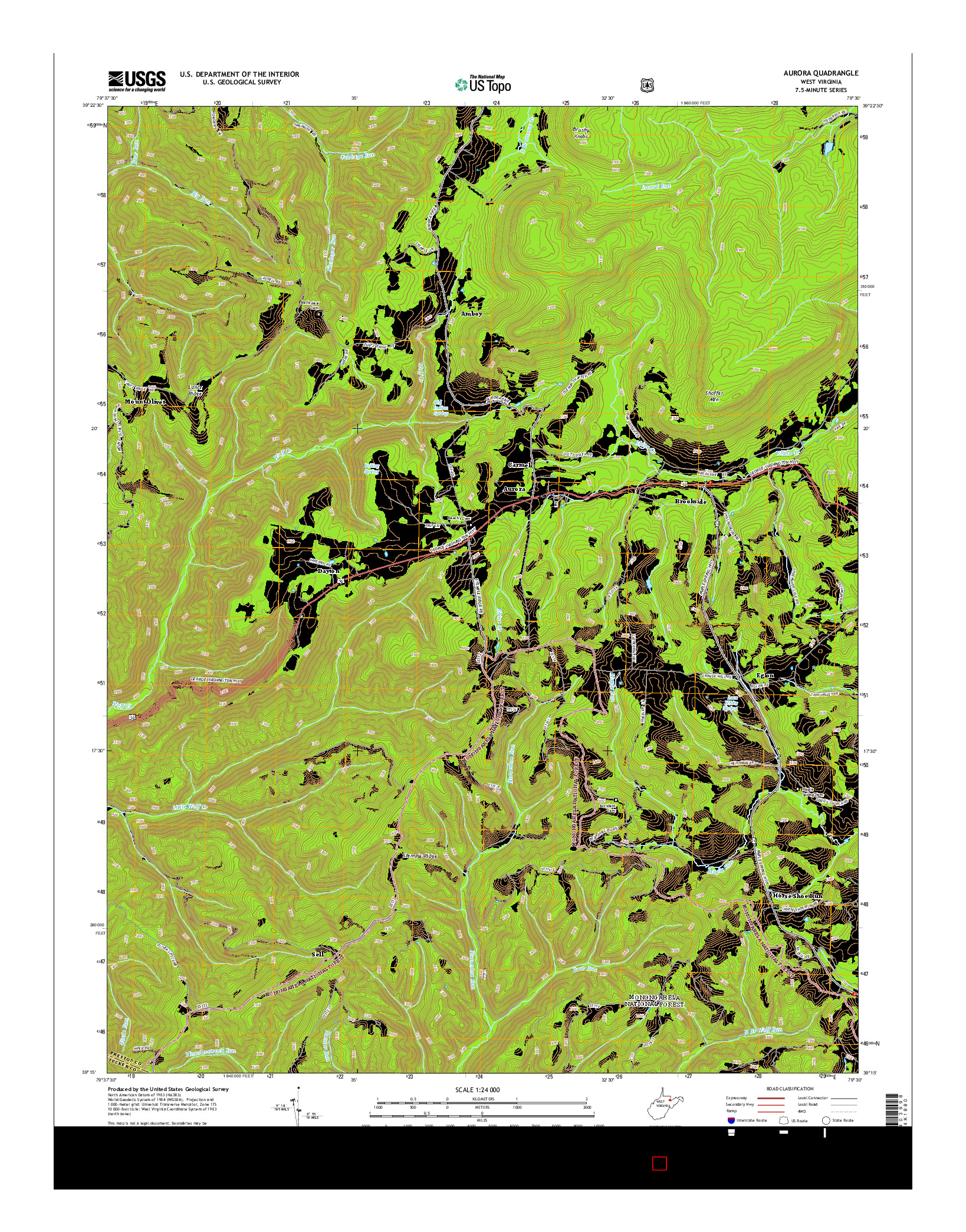 USGS US TOPO 7.5-MINUTE MAP FOR AURORA, WV 2014