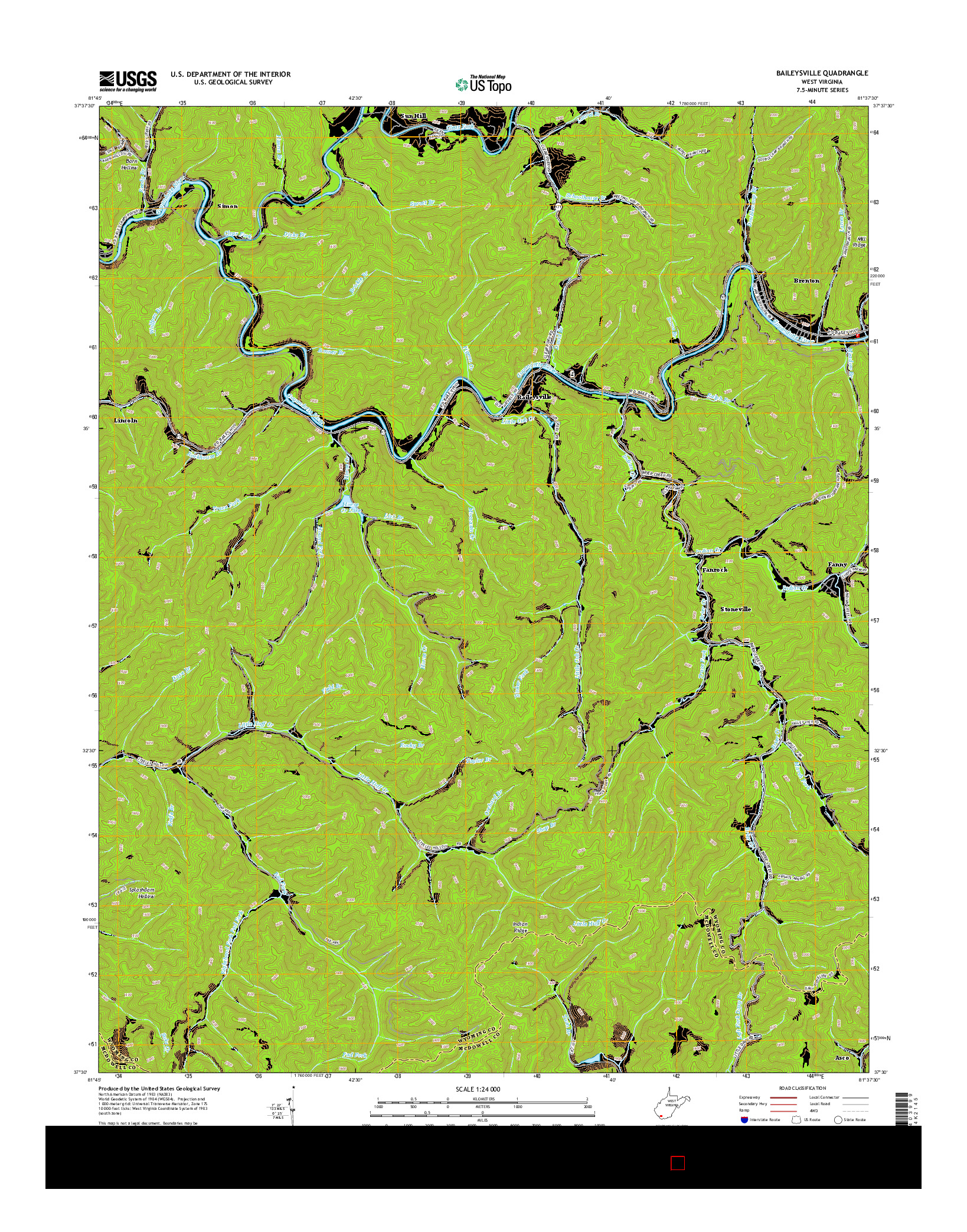 USGS US TOPO 7.5-MINUTE MAP FOR BAILEYSVILLE, WV 2014