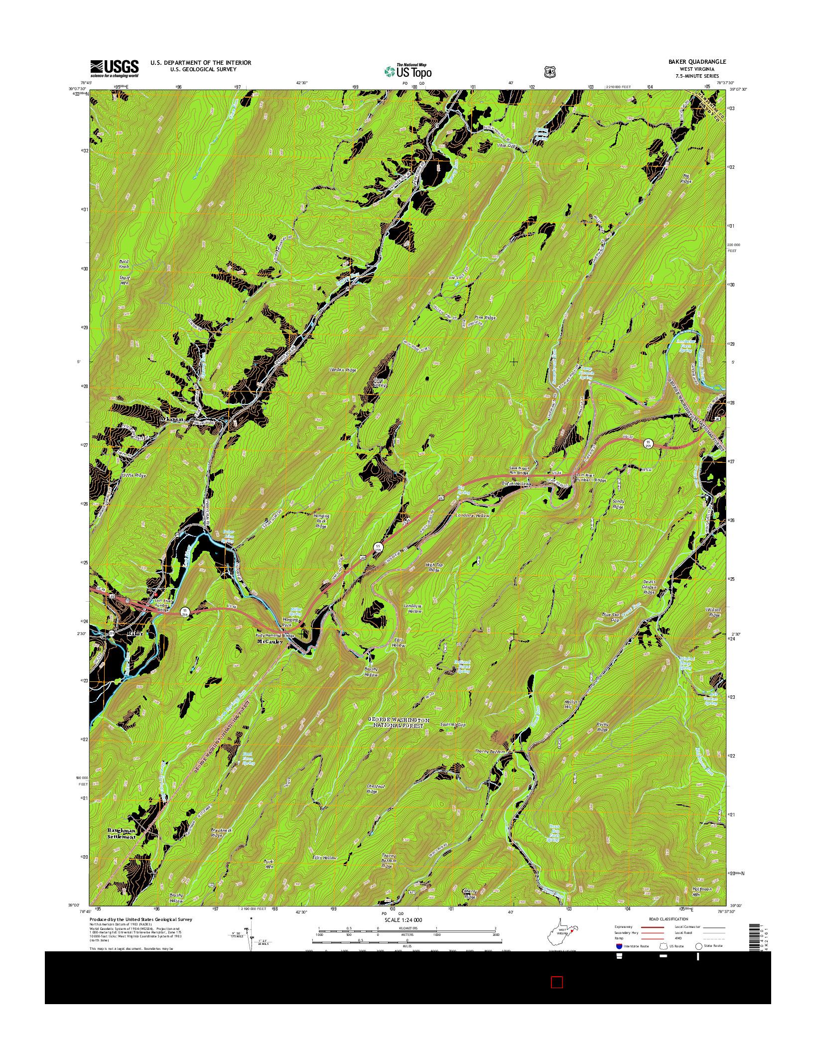 USGS US TOPO 7.5-MINUTE MAP FOR BAKER, WV 2014