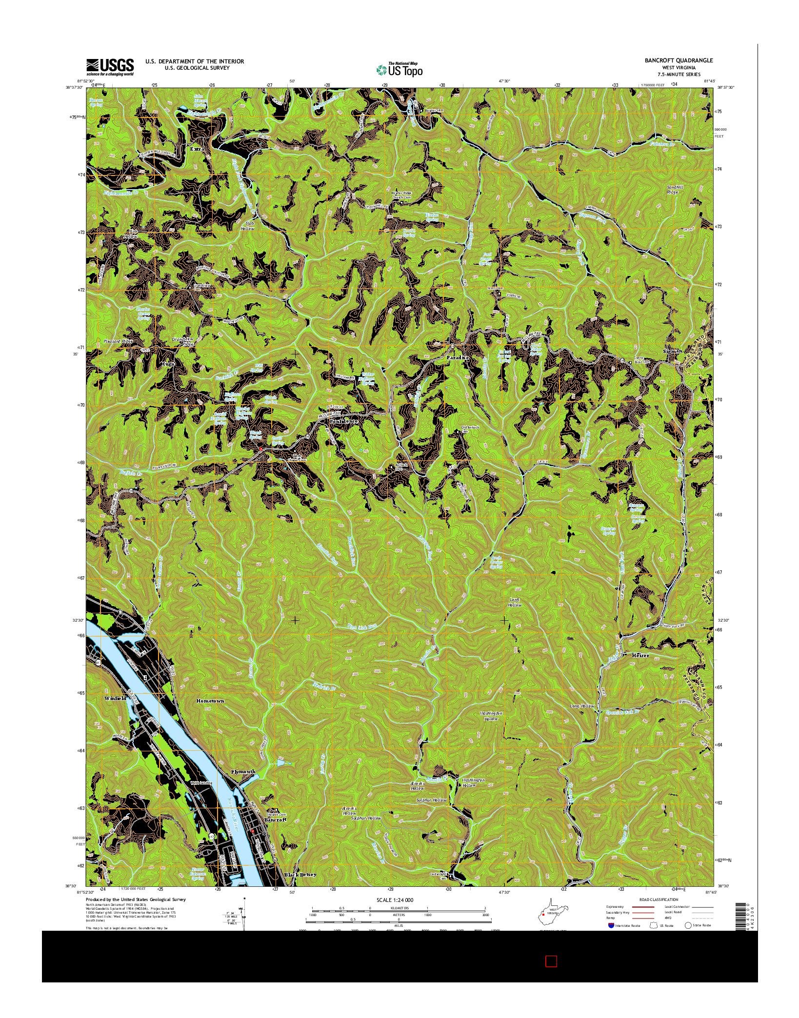 USGS US TOPO 7.5-MINUTE MAP FOR BANCROFT, WV 2014