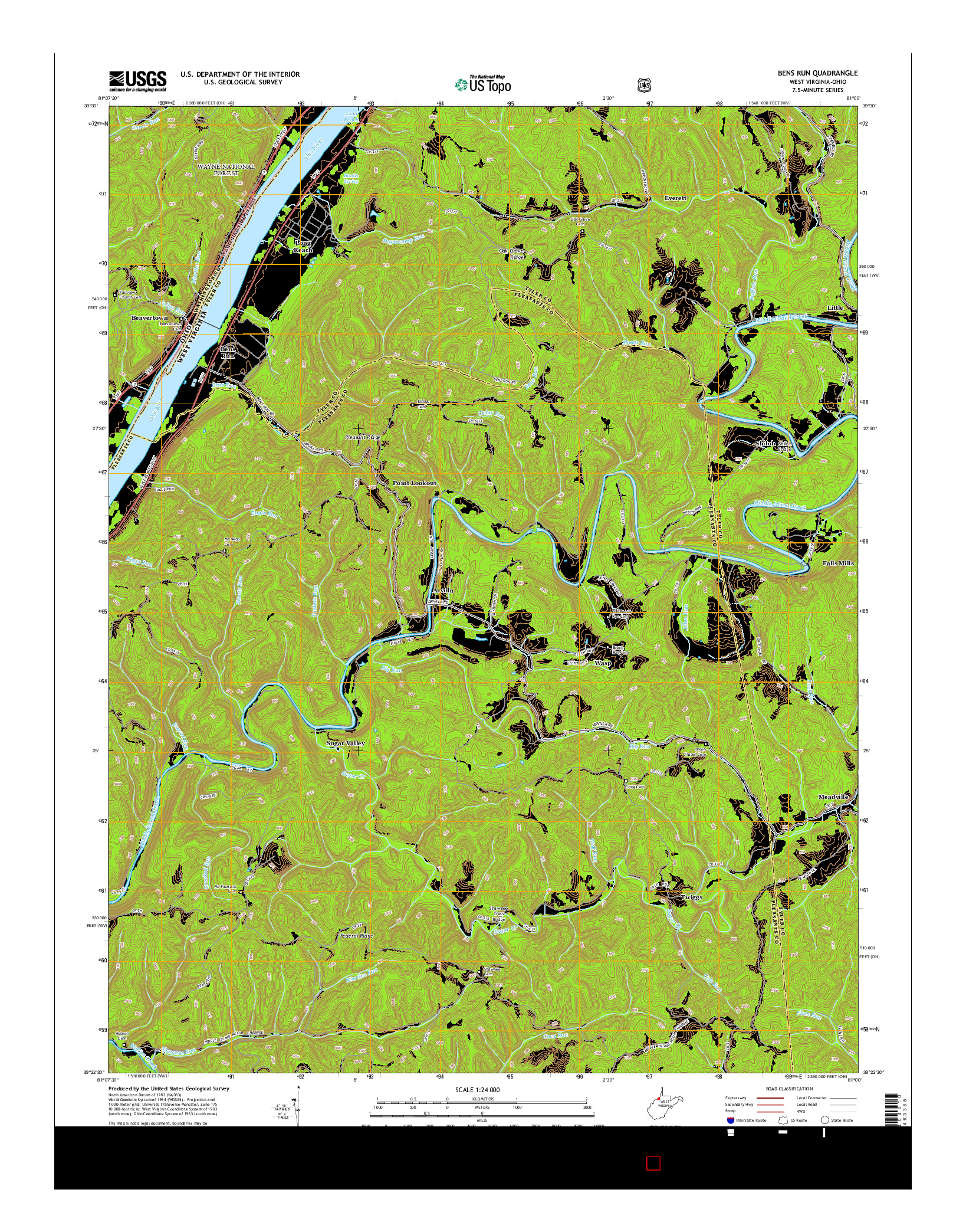 USGS US TOPO 7.5-MINUTE MAP FOR BENS RUN, WV-OH 2014