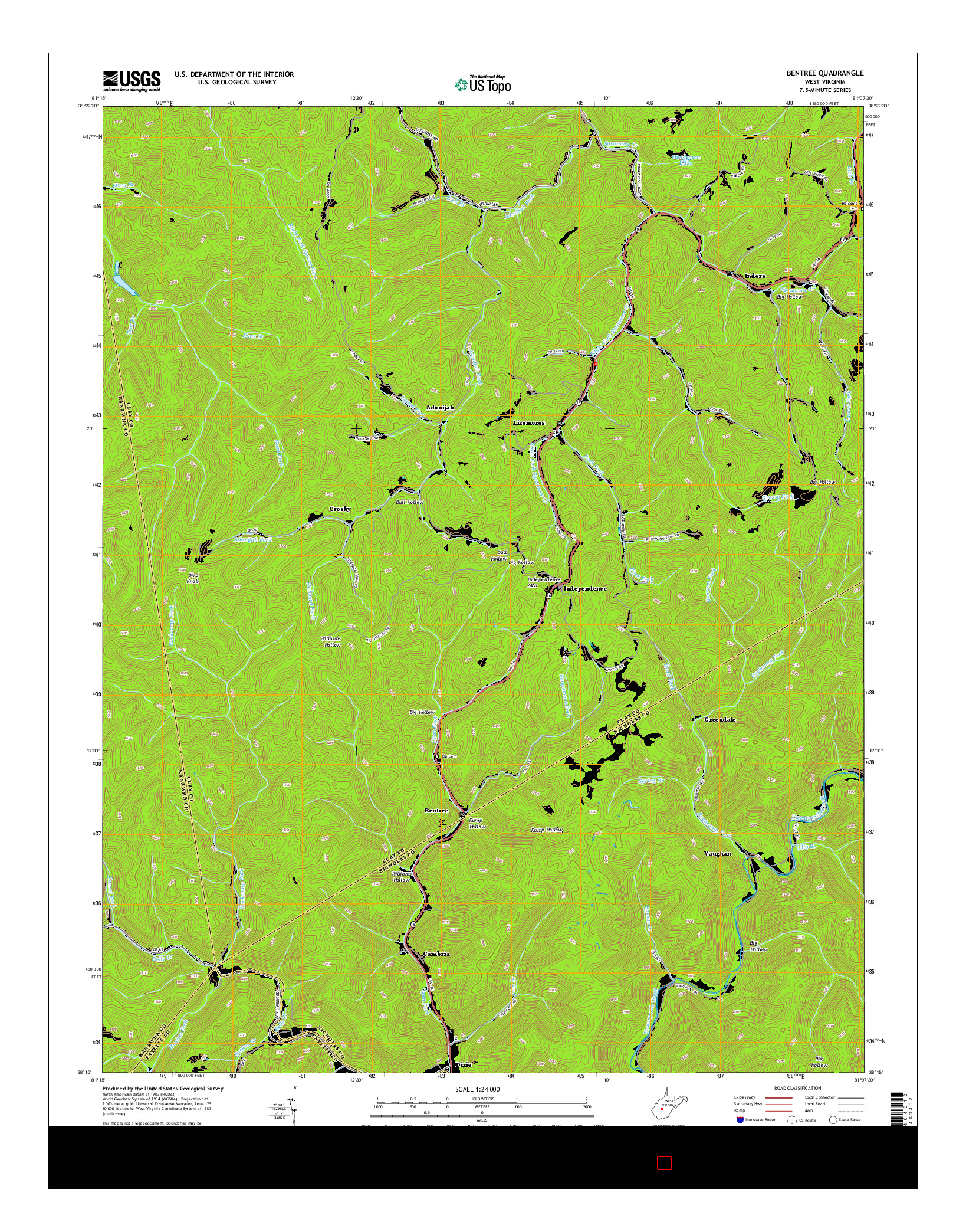 USGS US TOPO 7.5-MINUTE MAP FOR BENTREE, WV 2014
