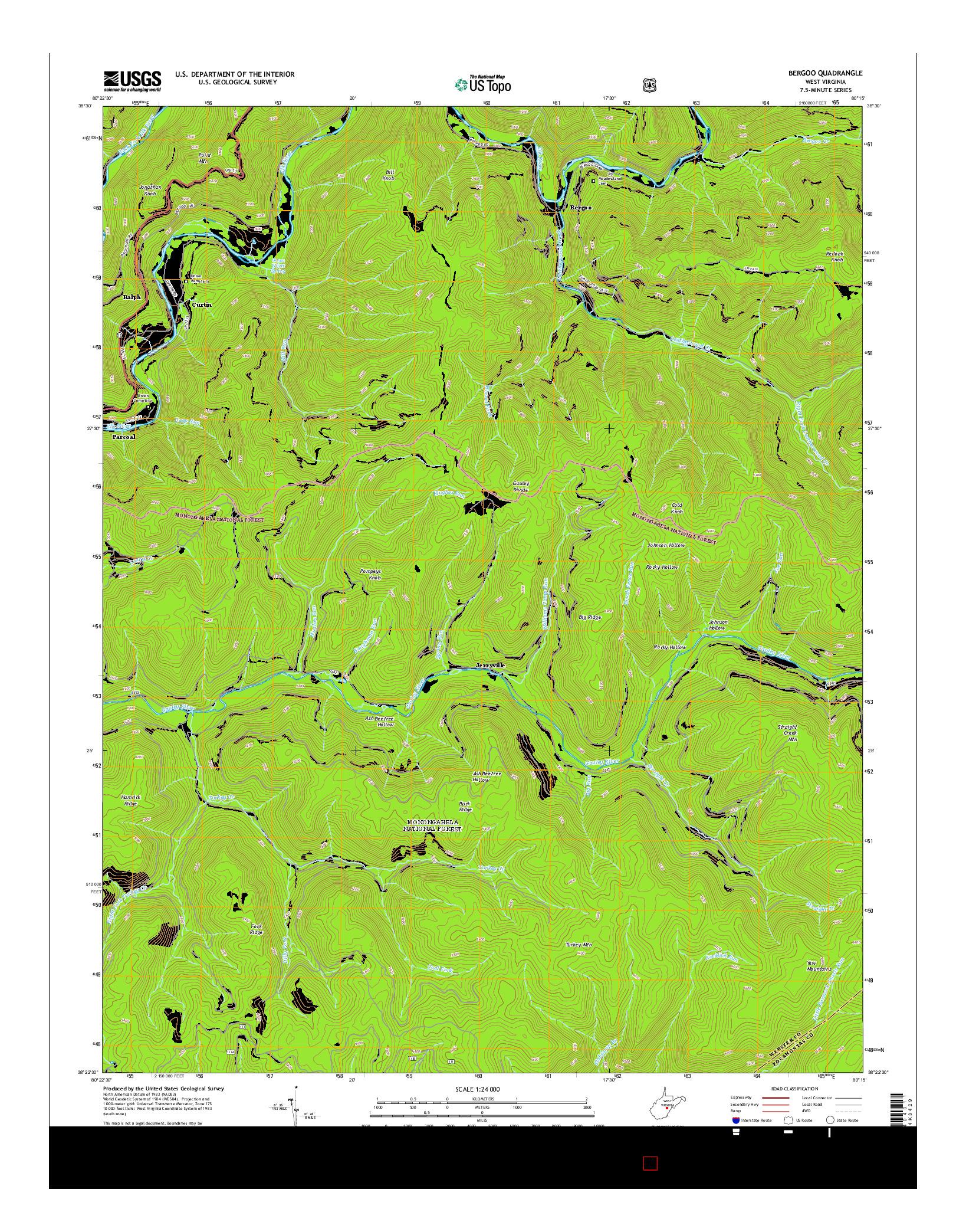 USGS US TOPO 7.5-MINUTE MAP FOR BERGOO, WV 2014