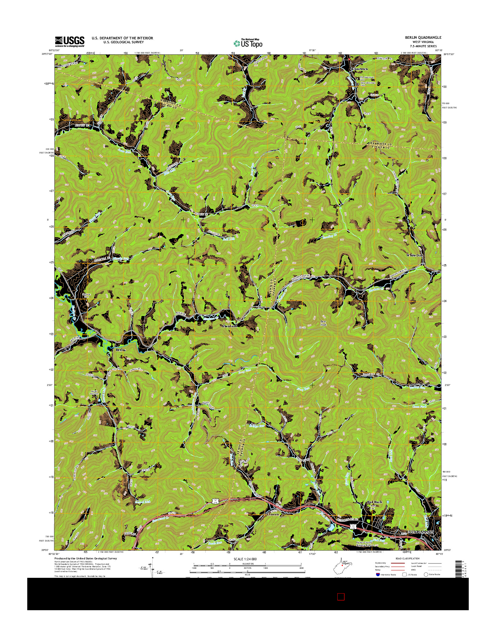 USGS US TOPO 7.5-MINUTE MAP FOR BERLIN, WV 2014