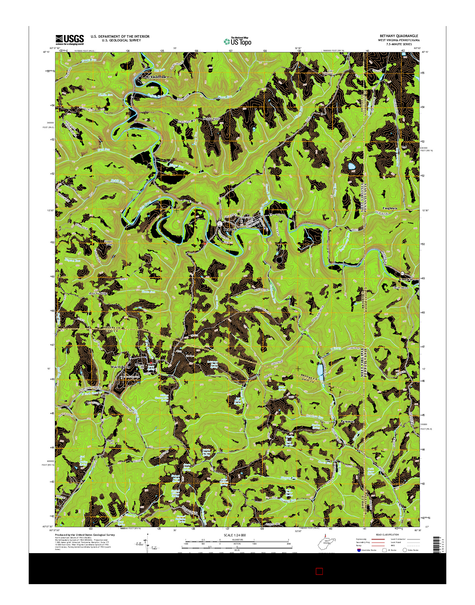 USGS US TOPO 7.5-MINUTE MAP FOR BETHANY, WV-PA 2014