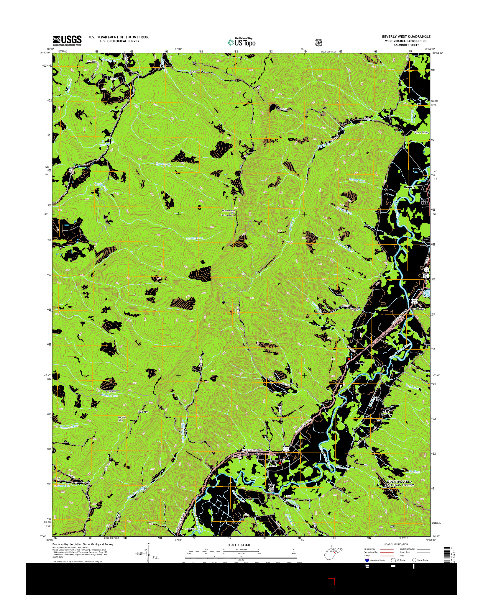 USGS US TOPO 7.5-MINUTE MAP FOR BEVERLY WEST, WV 2014