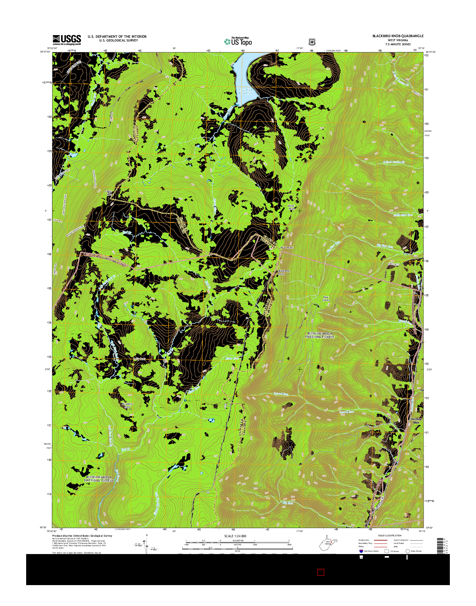USGS US TOPO 7.5-MINUTE MAP FOR BLACKBIRD KNOB, WV 2014