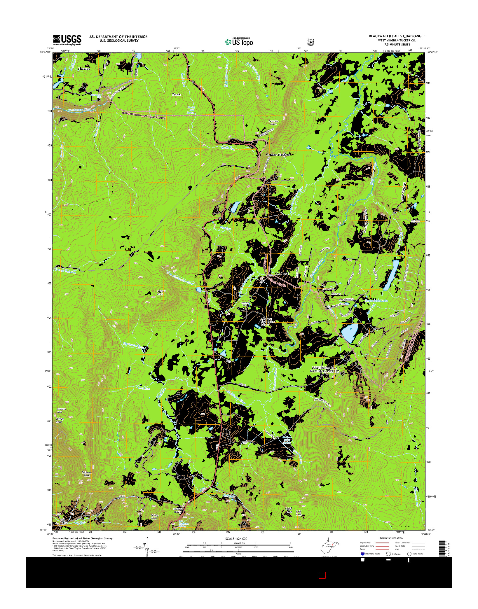 USGS US TOPO 7.5-MINUTE MAP FOR BLACKWATER FALLS, WV 2014